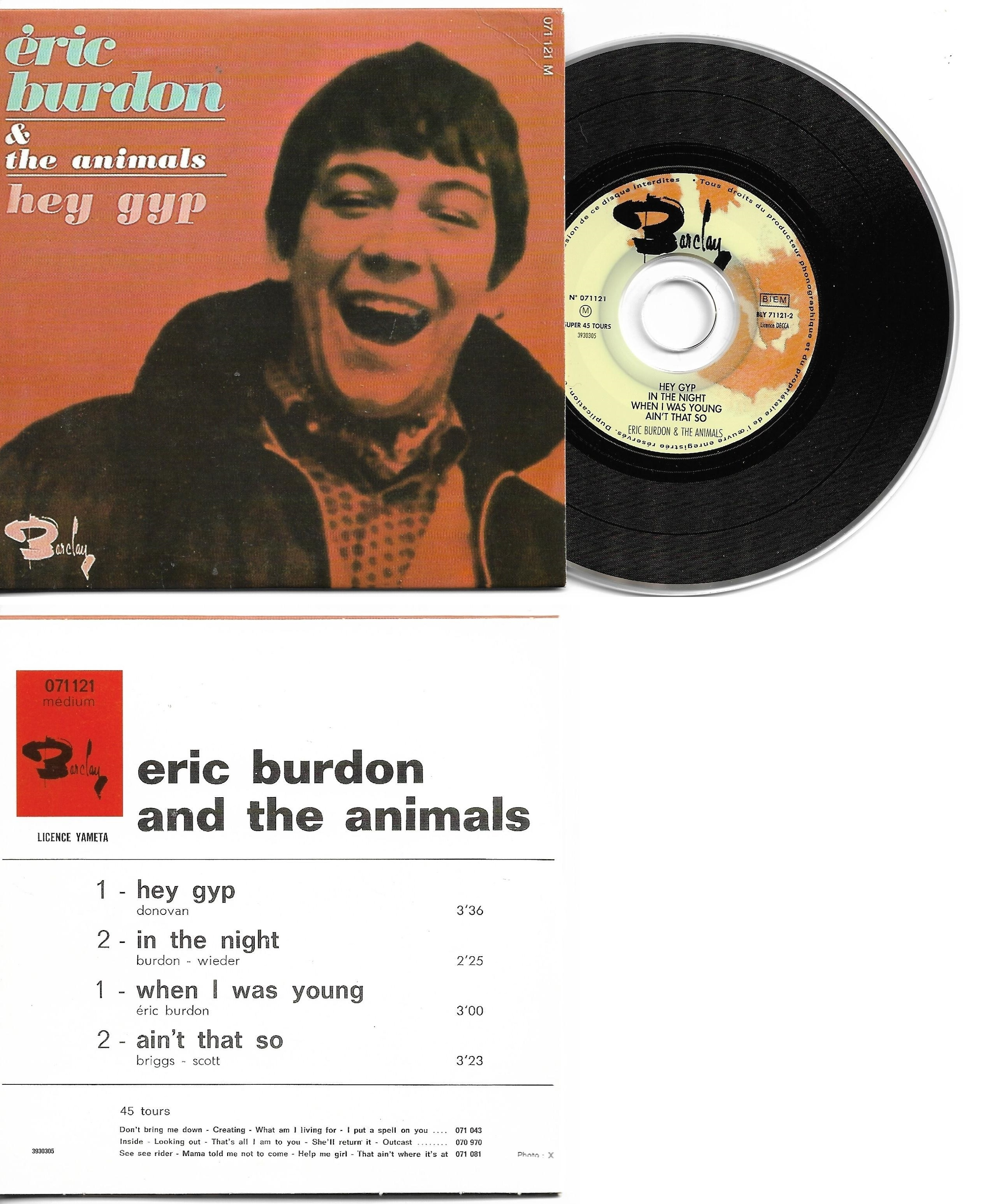 THE ANIMALS - ERIC BURDON - Hey Gyp - EP REPLICA - 4-track CARD SLEEVE - French sleeve - Very Limited Edition - CD single