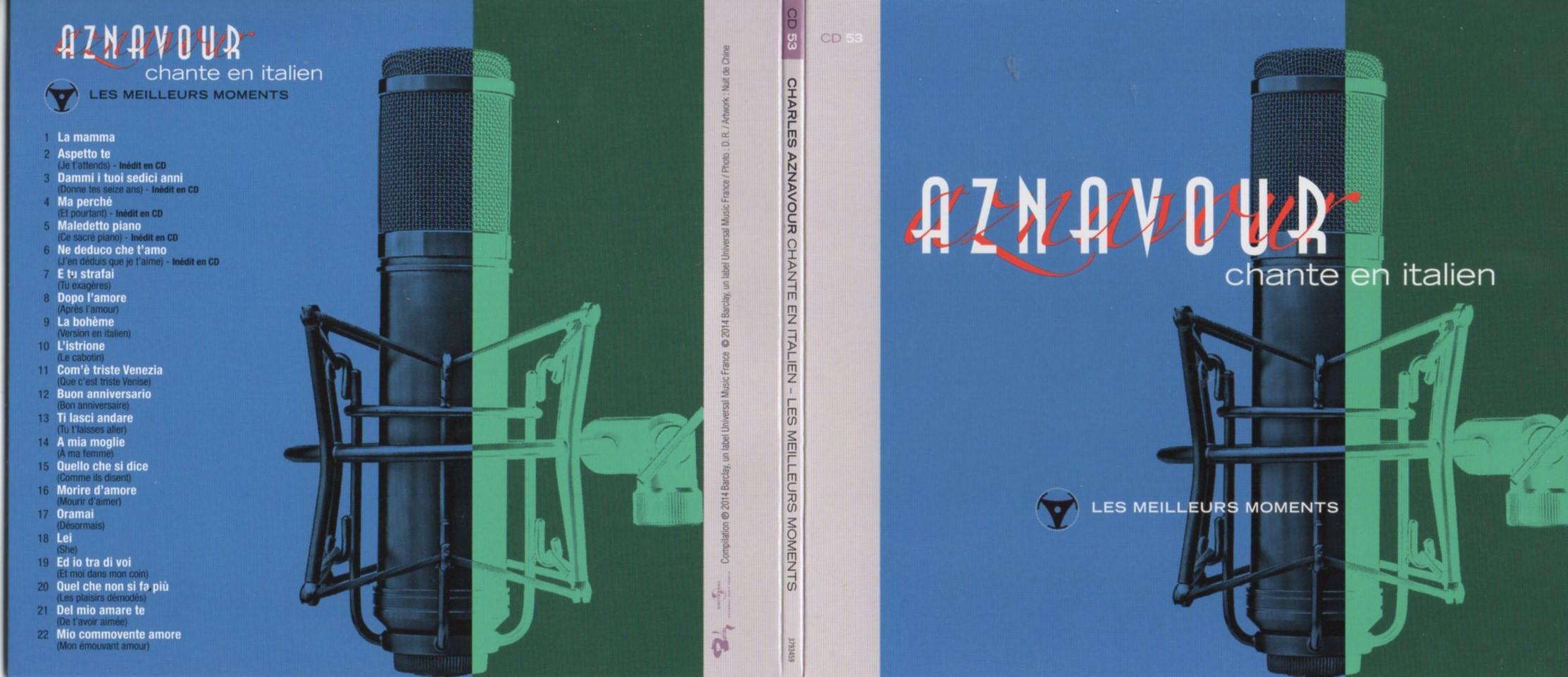 CHARLES AZNAVOUR - Chante en Italien - Canta in Italiano - Les meilleurs moments Gatefold Card board sleeve - CD