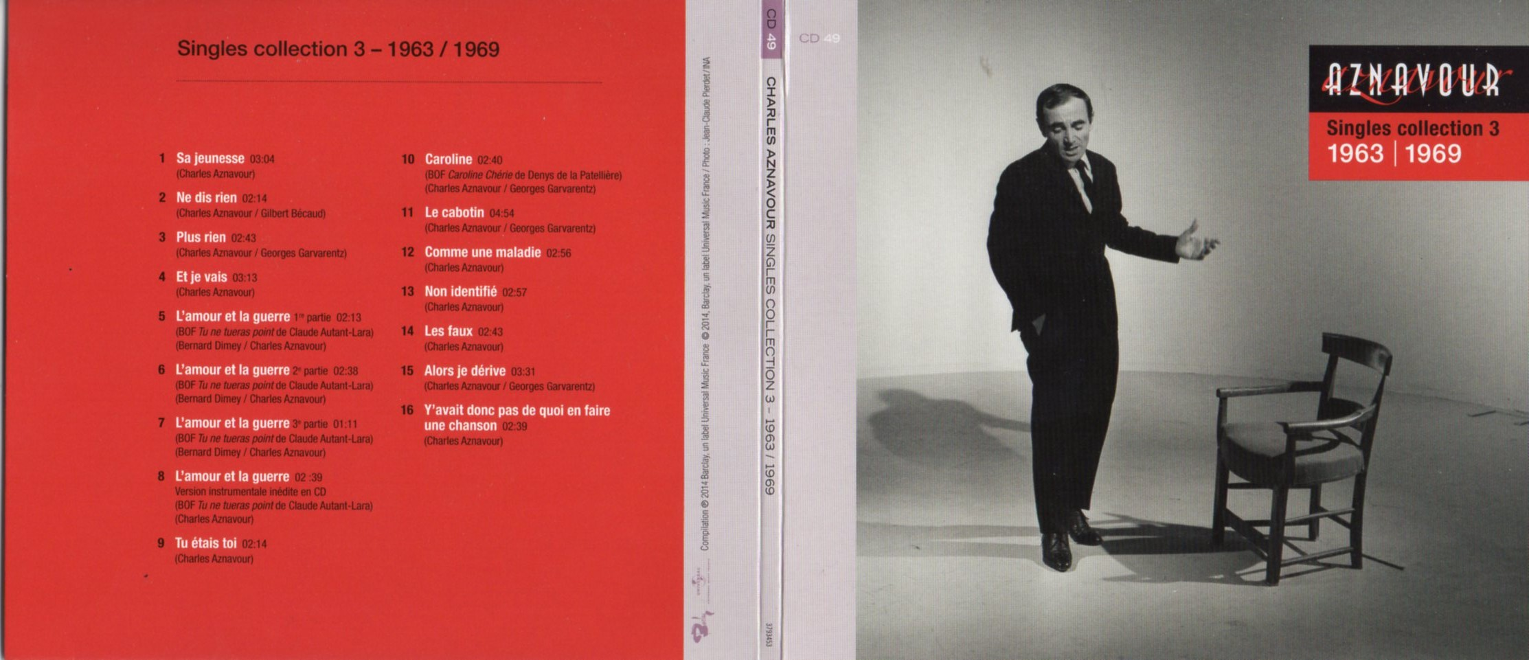 CHARLES AZNAVOUR - Singles Collection 3 - 1963 / 1969  Gatefold Card board sleeve - CD
