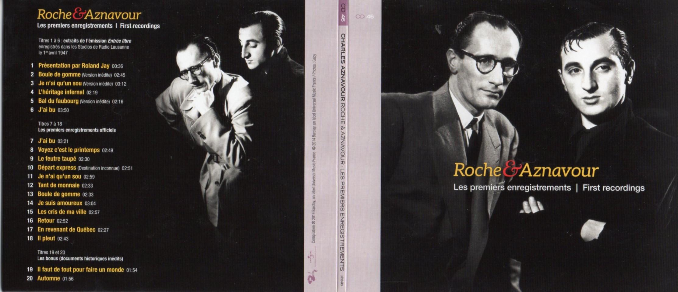 CHARLES AZNAVOUR - Roche & Aznavour - Les premiers enregistrements - Inédits -  Gatefold Card board sleeve - CD