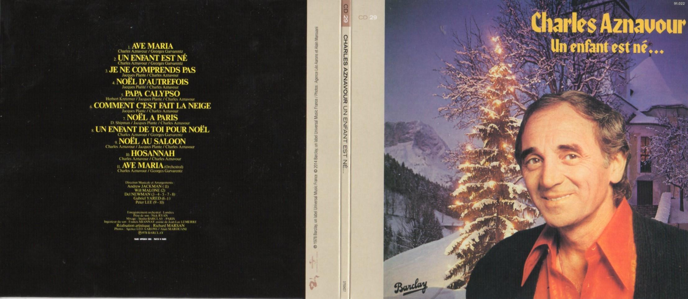 CHARLES AZNAVOUR - Un Enfant Est Né…(Christmas Album - Album de Noël) (1978) Gatefold Card board sleeve Replica - CD