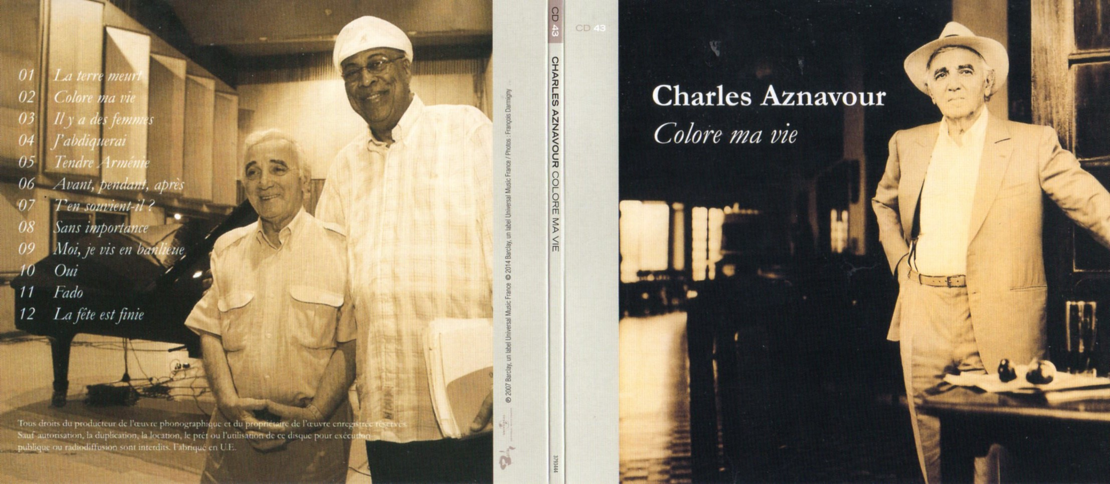 CHARLES AZNAVOUR - Colore Ma Vie (2007) Gatefold Card board sleeve - CD