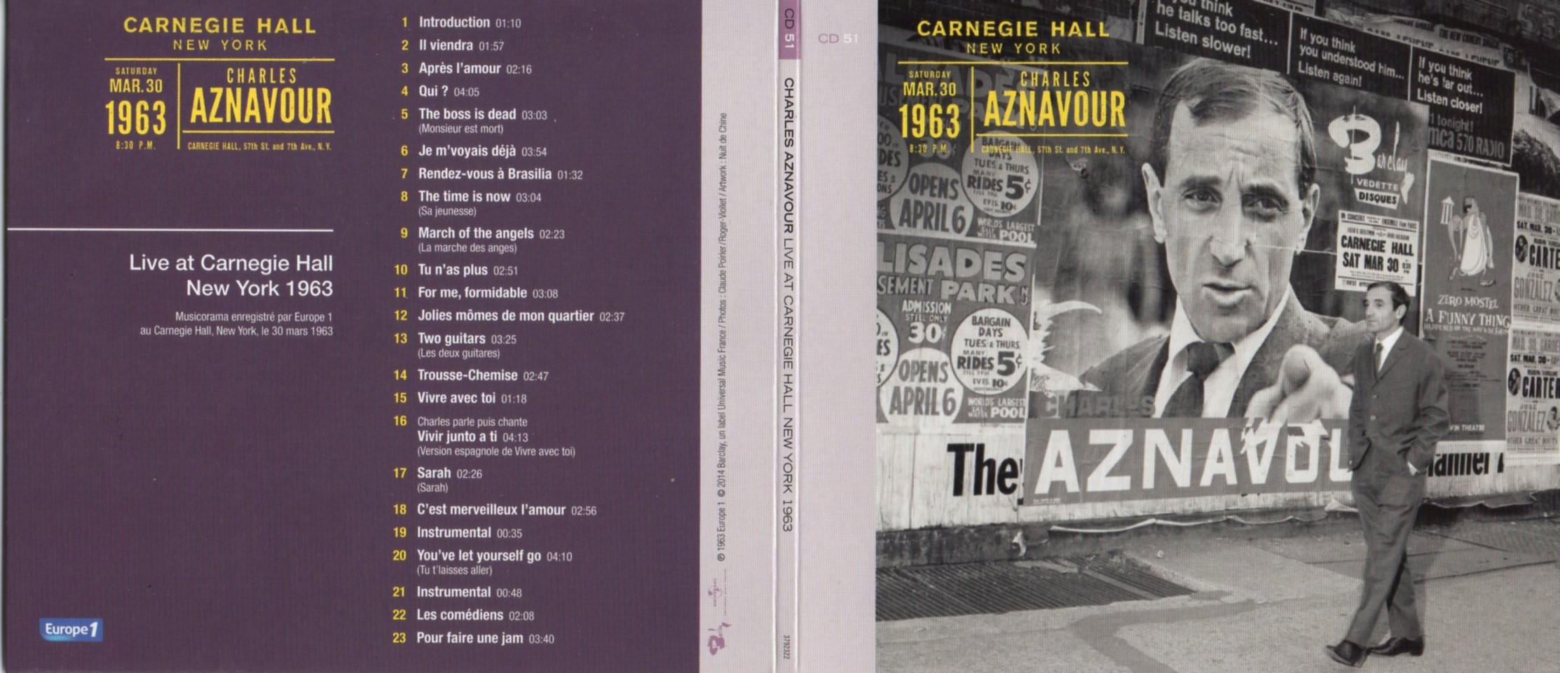 CHARLES AZNAVOUR - Live at Carnegie Hall New York 1963 Gatefold Card board sleeve - CD