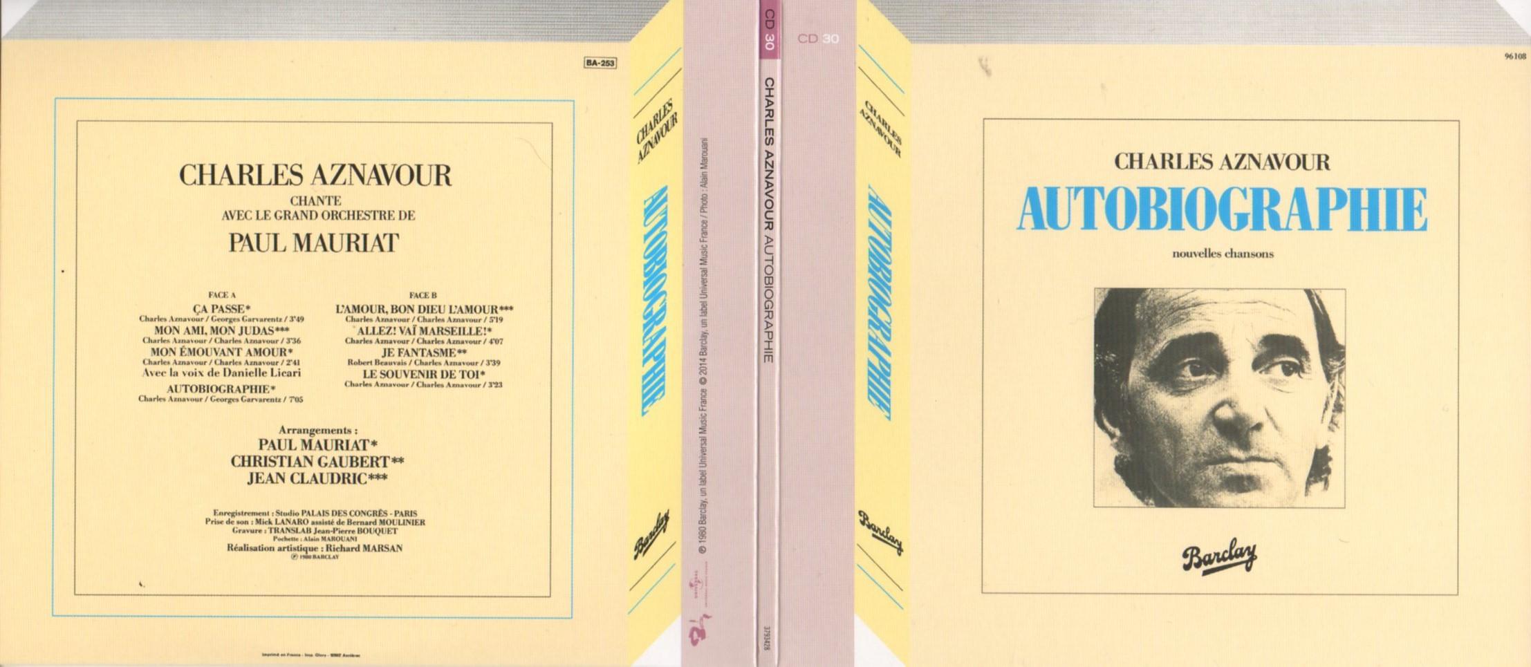 CHARLES AZNAVOUR - Autobiographie (1980) Gatefold Card board sleeve Replica - CD