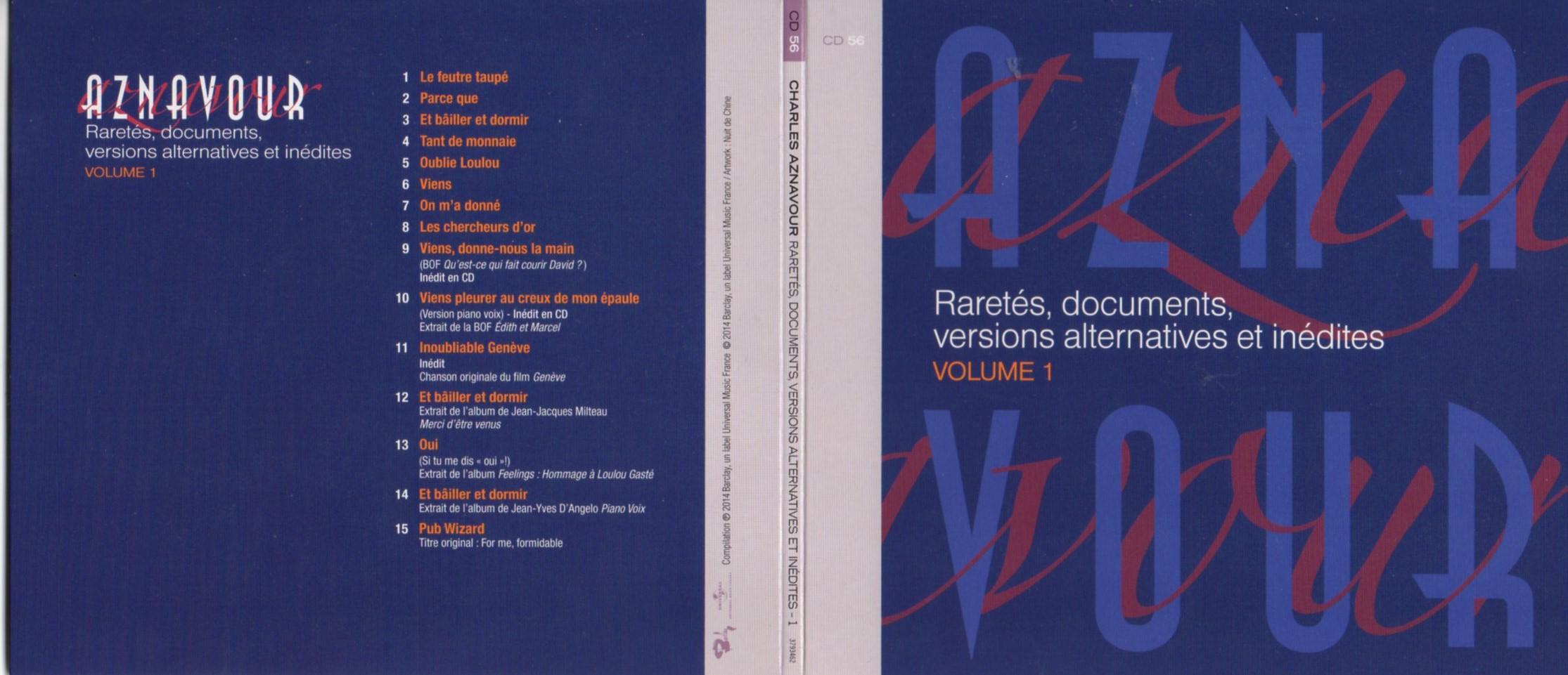 CHARLES AZNAVOUR - Raretés, Versions alternatives et inédites, Musiques de films - Soundtracks Vol 1 Gatefold Card boar - CD