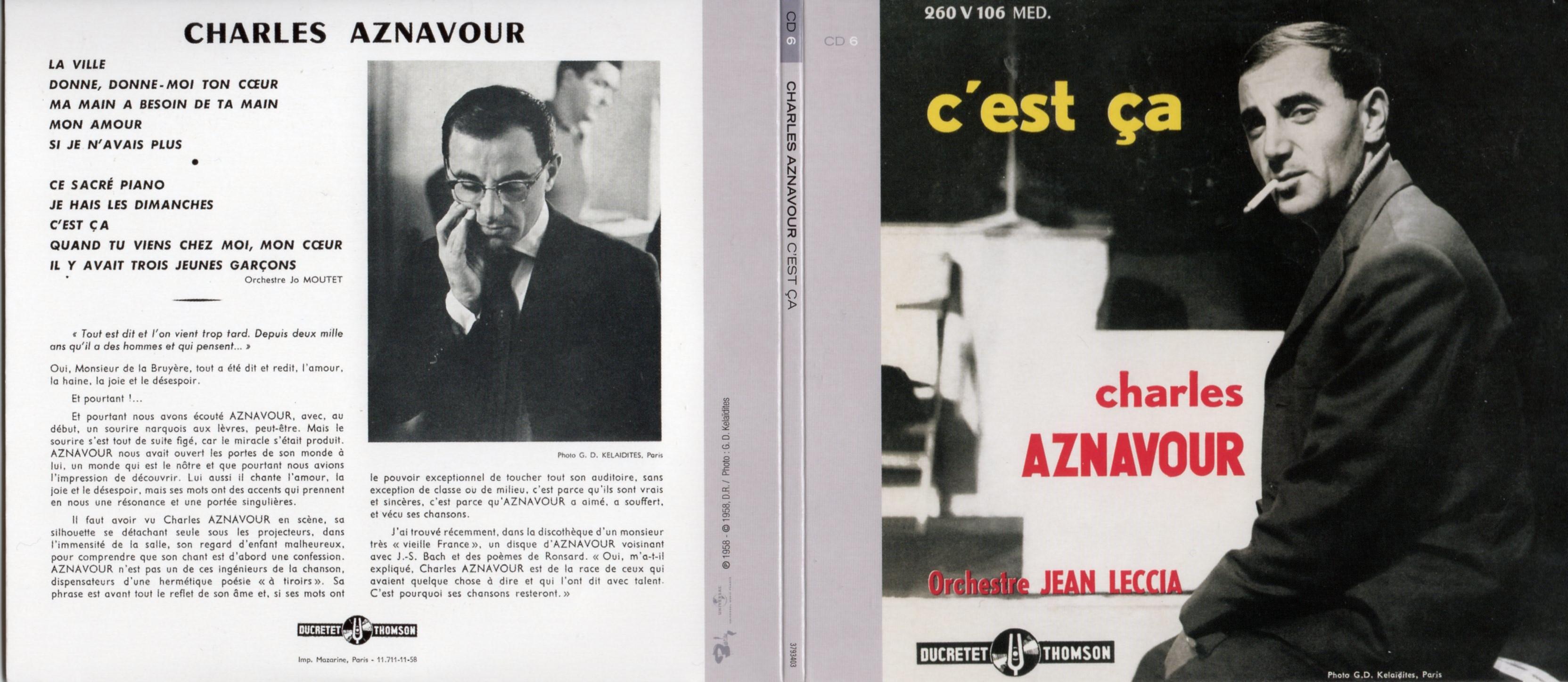CHARLES AZNAVOUR - C'est ça (1958) Gatefold Card board REPLICA sleeve - CD