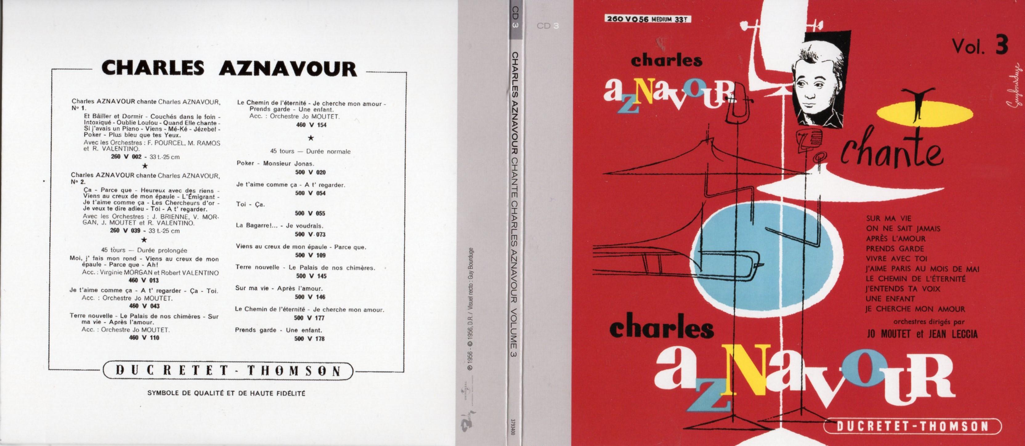 CHARLES AZNAVOUR - Charles Aznavour Chante vol 3 ... (1956) Gatefold Card board REPLICA sleeve - CD
