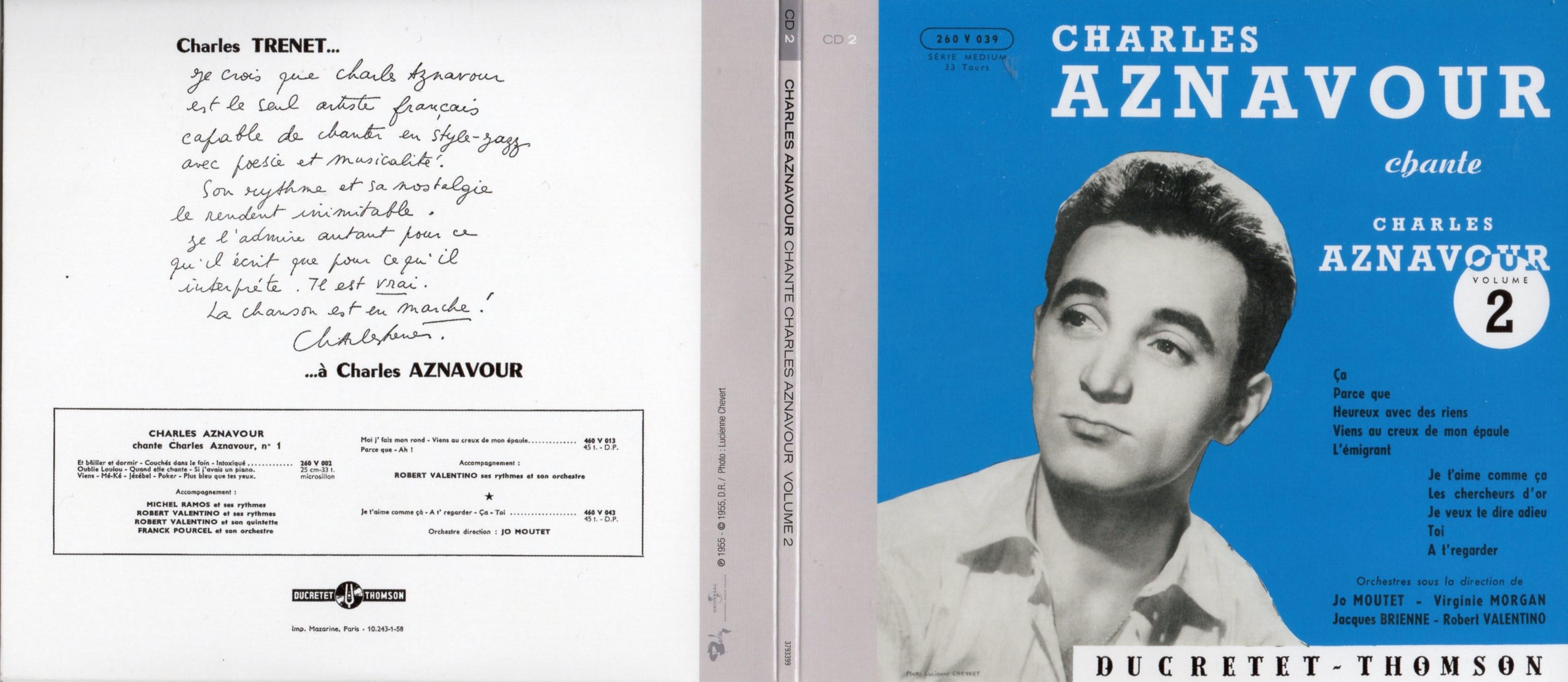 CHARLES AZNAVOUR - Charles Aznavour Chante vol 2 ... (1955) Gatefold Card board REPLICA sleeve - CD