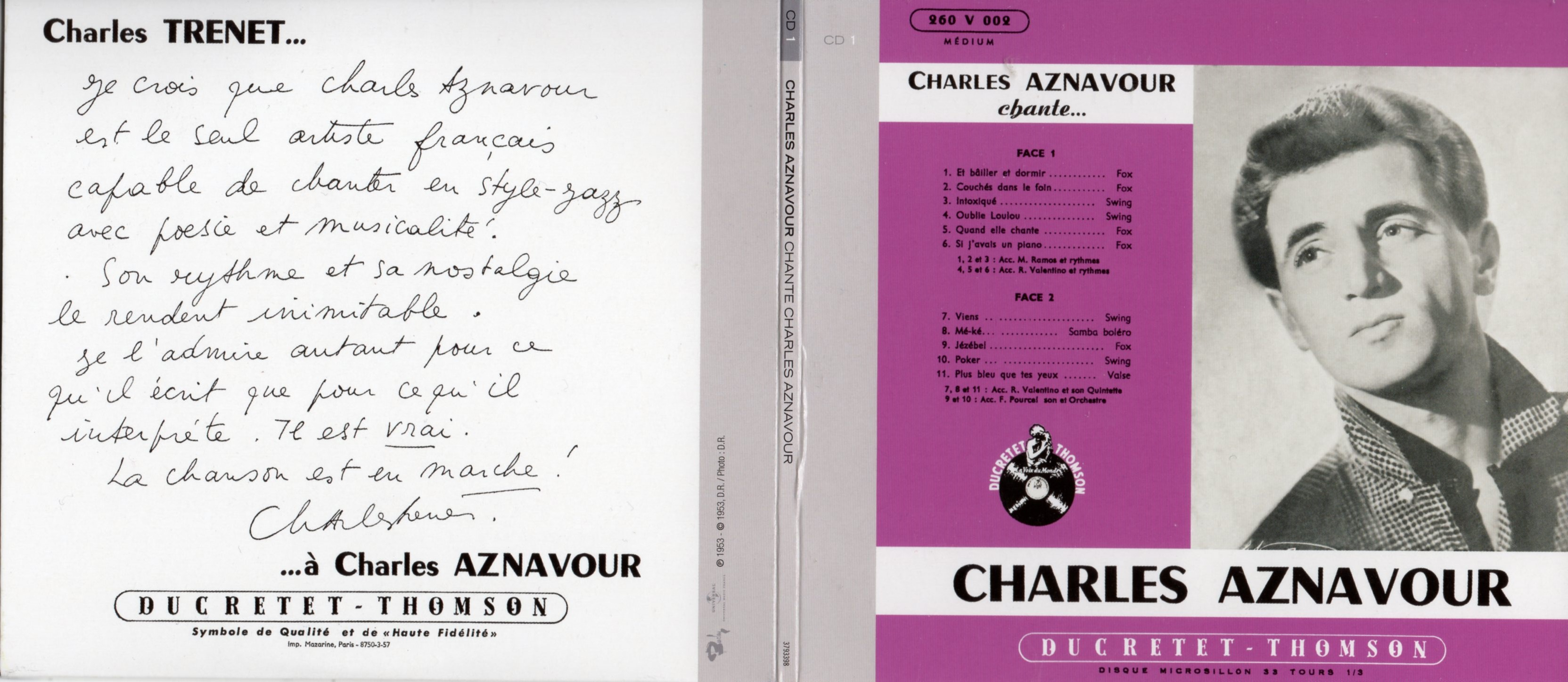 CHARLES AZNAVOUR - Charles Aznavour Chante... (1953) Gatefold Card board REPLICA sleeve - CD