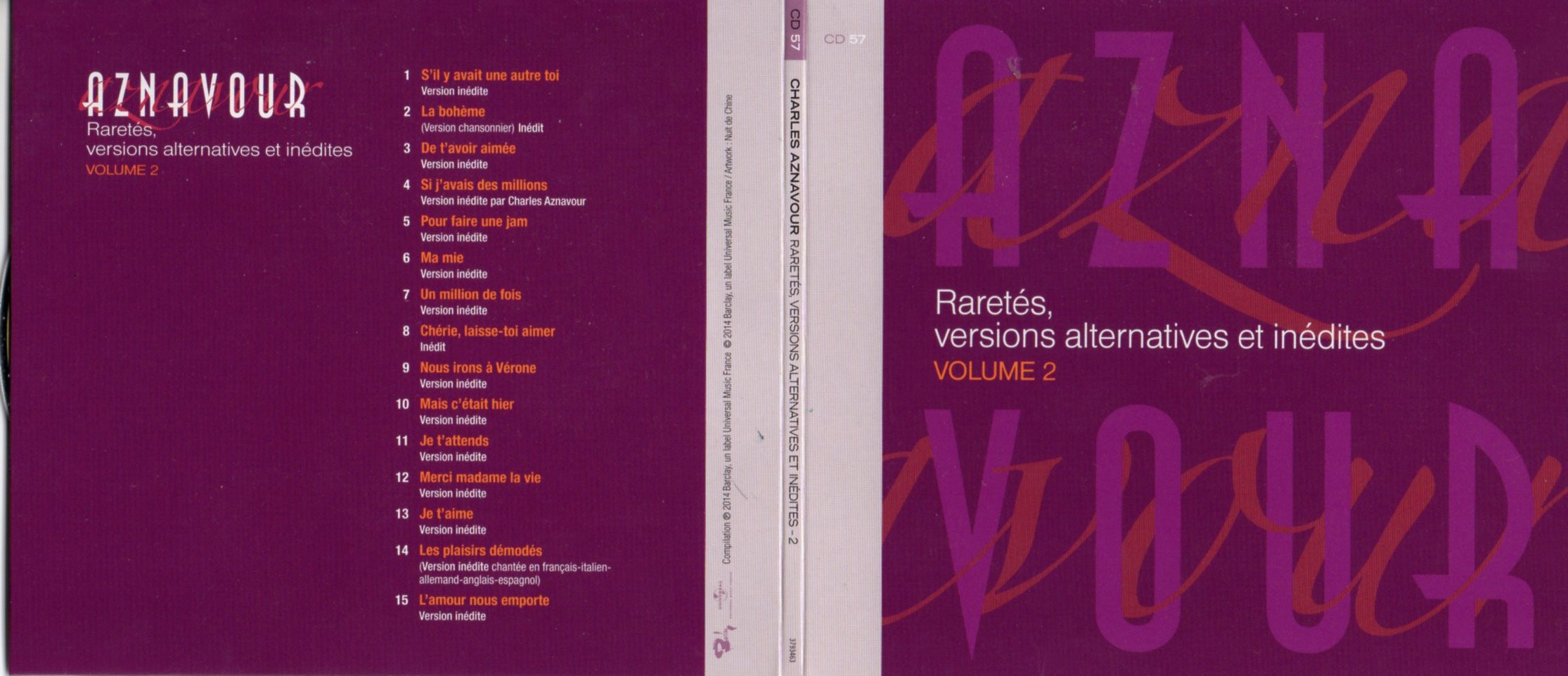 CHARLES AZNAVOUR - Raretés, Versions alternatives et inédites Vol 2 Gatefold Card board sleeve - CD