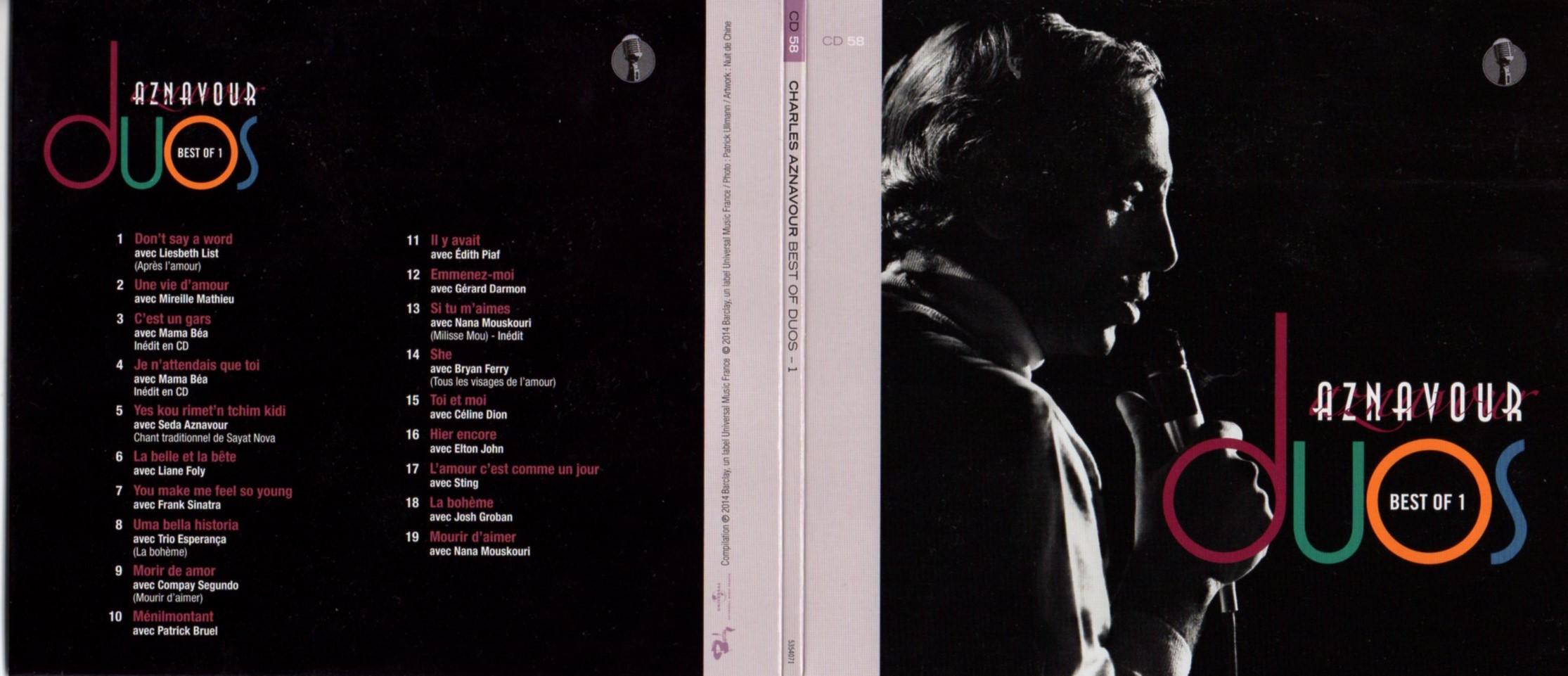 CHARLES AZNAVOUR - MIREILLE MATHIEU - NANA MOUSKOU - Best of duos Vol 1 Gatefold Card board sleeve - CD