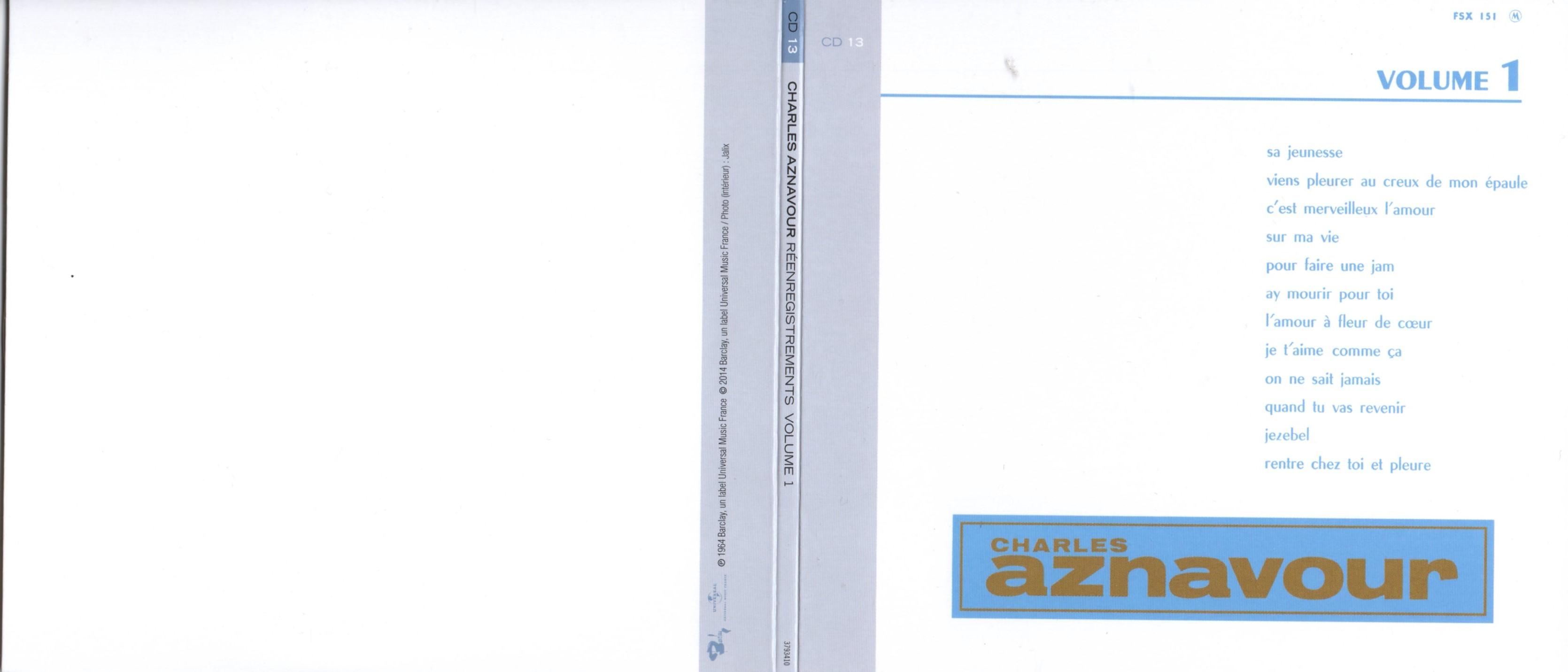 CHARLES AZNAVOUR - Réenregistrements Columbia Volume 1 (1964) Gatefold Card board sleeve Replica - CD