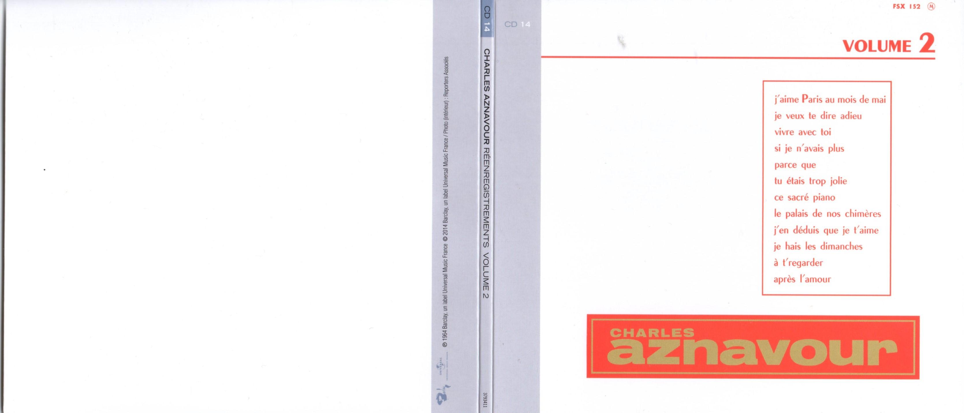 CHARLES AZNAVOUR - Réenregistrements Columbia Volume 2 (1964) Gatefold Card board sleeve Replica - CD