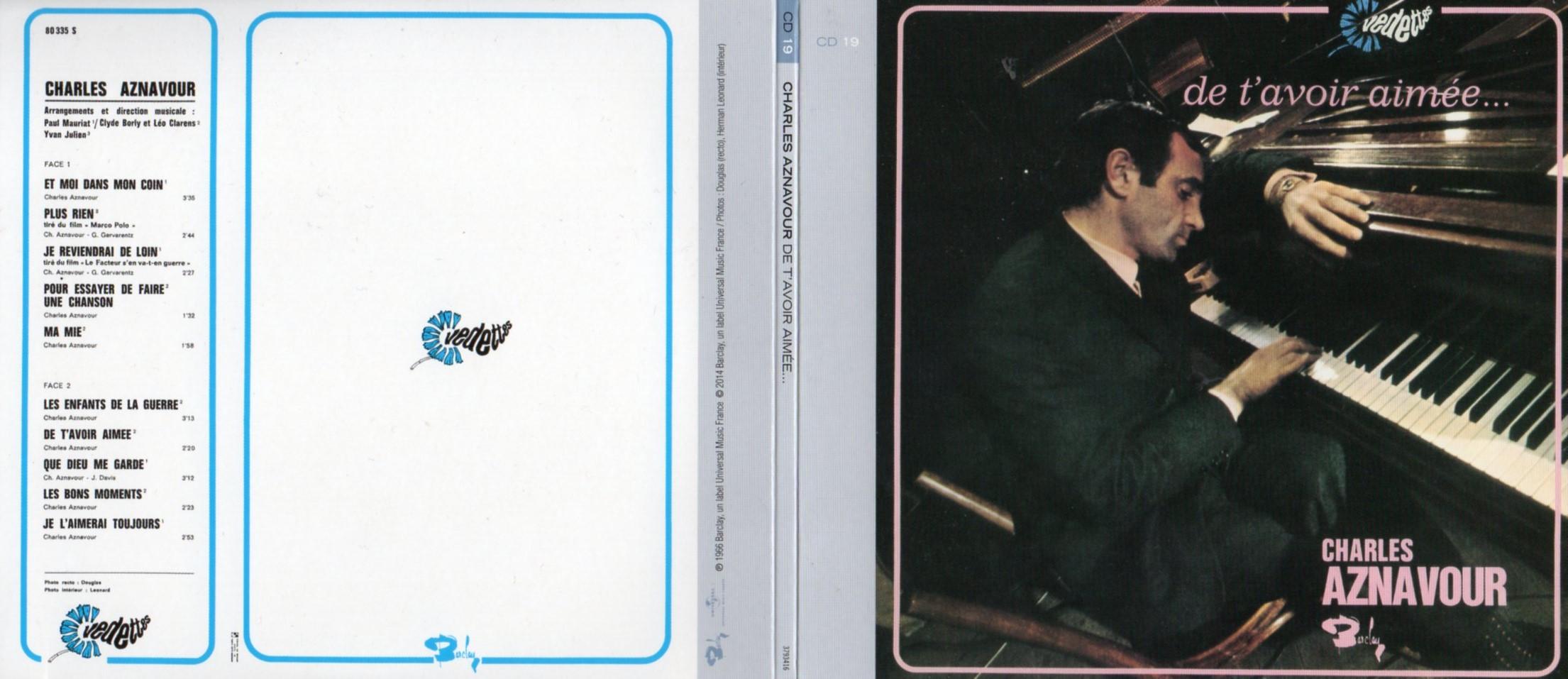 CHARLES AZNAVOUR - De t'avoir aimée (1966) Gatefold Card board sleeve Replica - CD