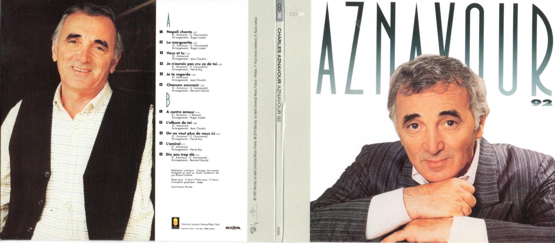 CHARLES AZNAVOUR - Aznavour 92 (1992) Gatefold Card board sleeve Replica - CD