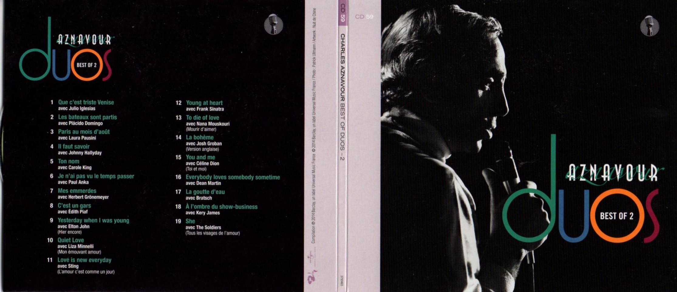 CHARLES AZNAVOUR - JOHNNY HALLYDAY - LAURA PAUSINI - Best of duos Vol 2 Gatefold Card board sleeve - CD