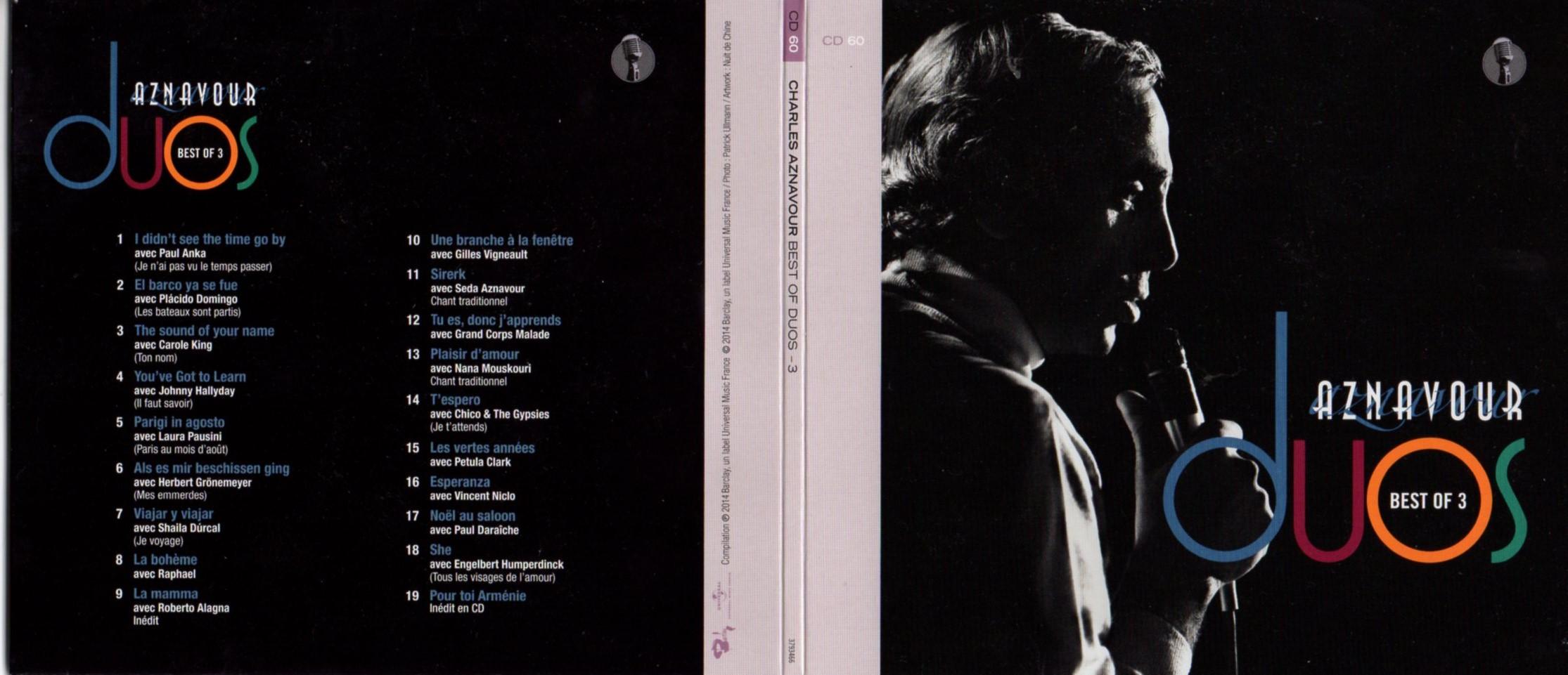 CHARLES AZNAVOUR - JOHNNY HALLYDAY - LAURA PAUSINI - Best of duos Vol 3 INCLUS Pour toi Arménie - Gatefold Card board sleeve - CD