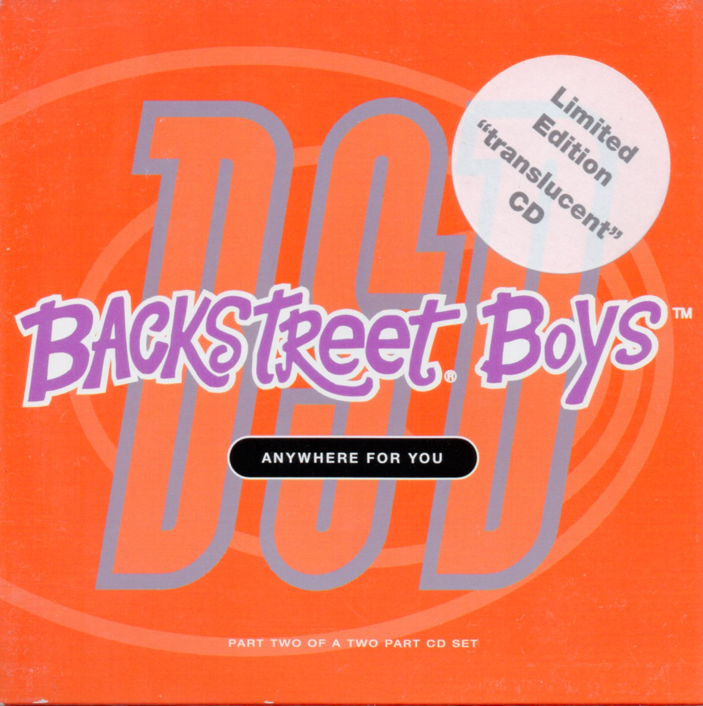 BACKSTREET BOYS - Anywhere For You - Limited edition translucent CD 3-track CARD SLEEVE - CD single
