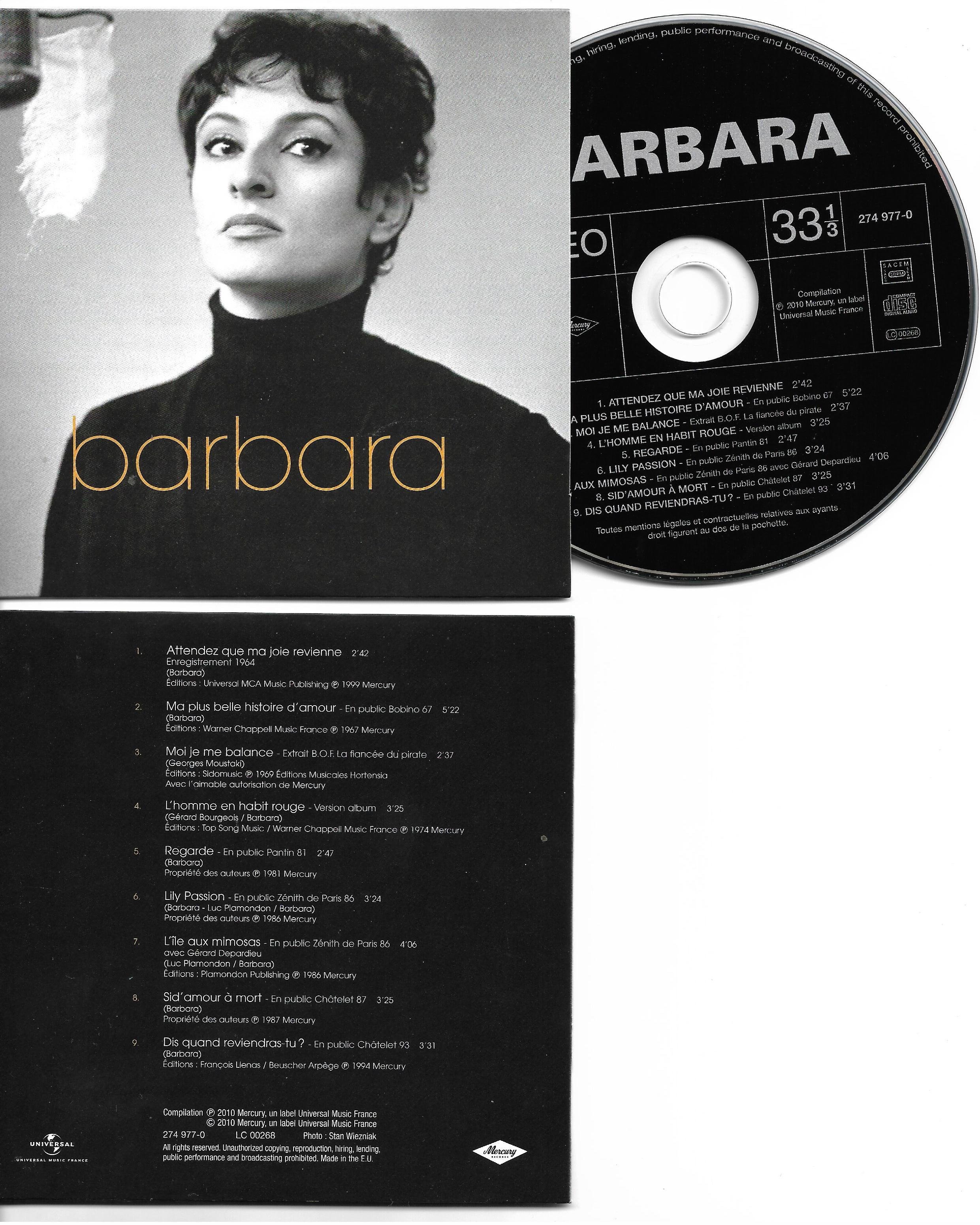 BARBARA - Attendez Que Ma Joie - Mini LP 9-track CARD SLEEVE - CD