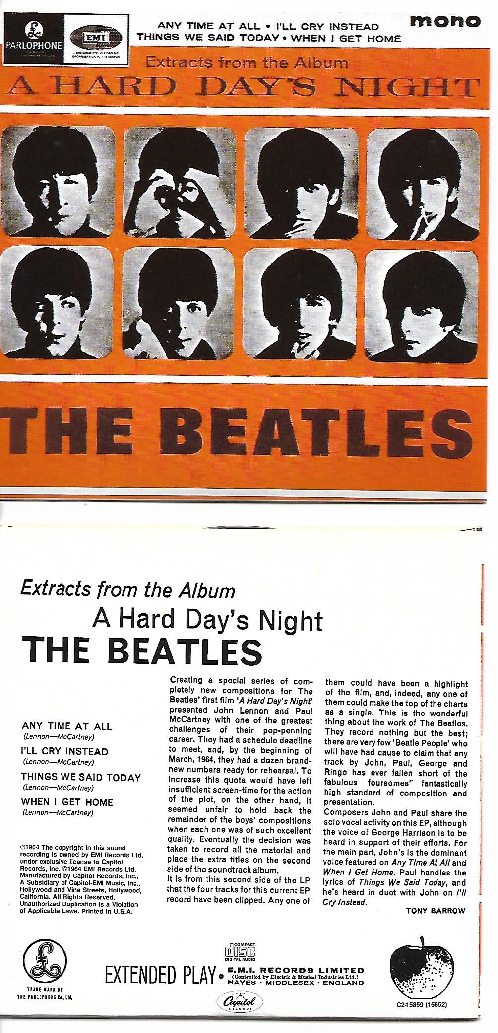 BEATLES - Extracts From The Album A Hard Day's Night Ep 4-track Card Sleeve