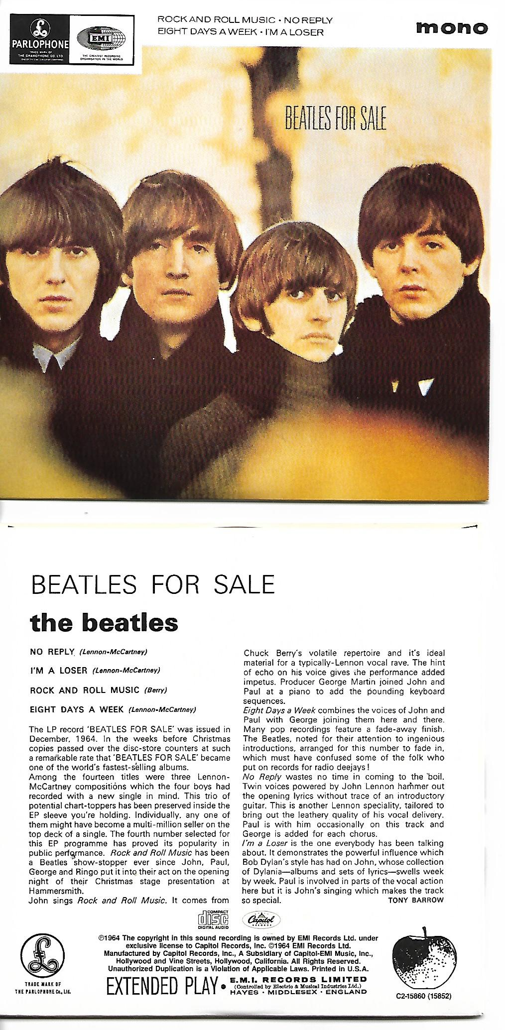 THE BEATLES - Beatles For Sale EP REPLICA 4-TRACK CARD SLEEVE - CD single
