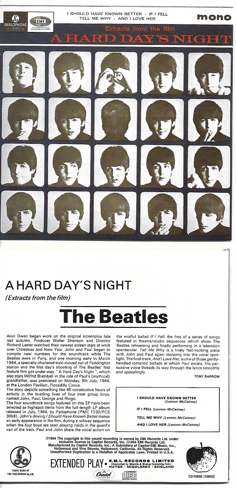 THE BEATLES - Extracts from the film A HARD DAY'S NIGHT EP 4-TRACK CARD SLEEVE - CD single