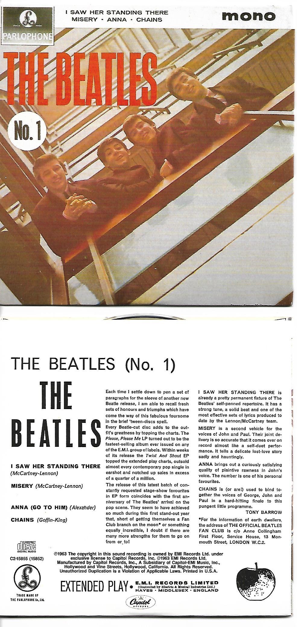 THE BEATLES - The Beatles (N°1) EP 4-TRACK CARD SLEEVE - CD single