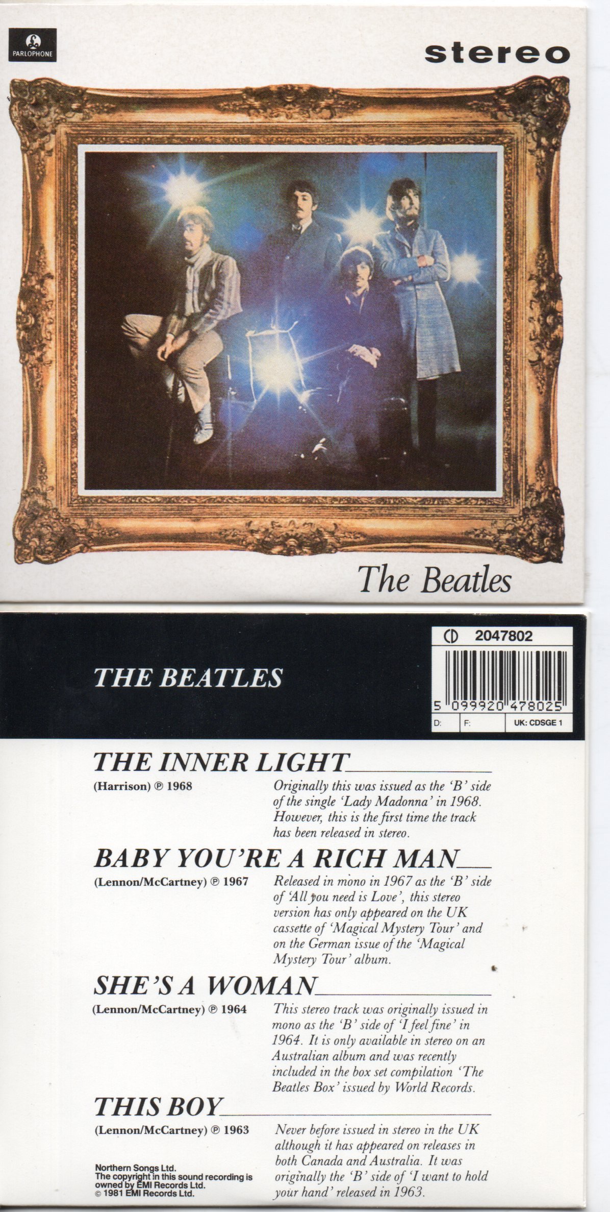 BEATLES - The Inner Light Ep 4-track Card Sleeve