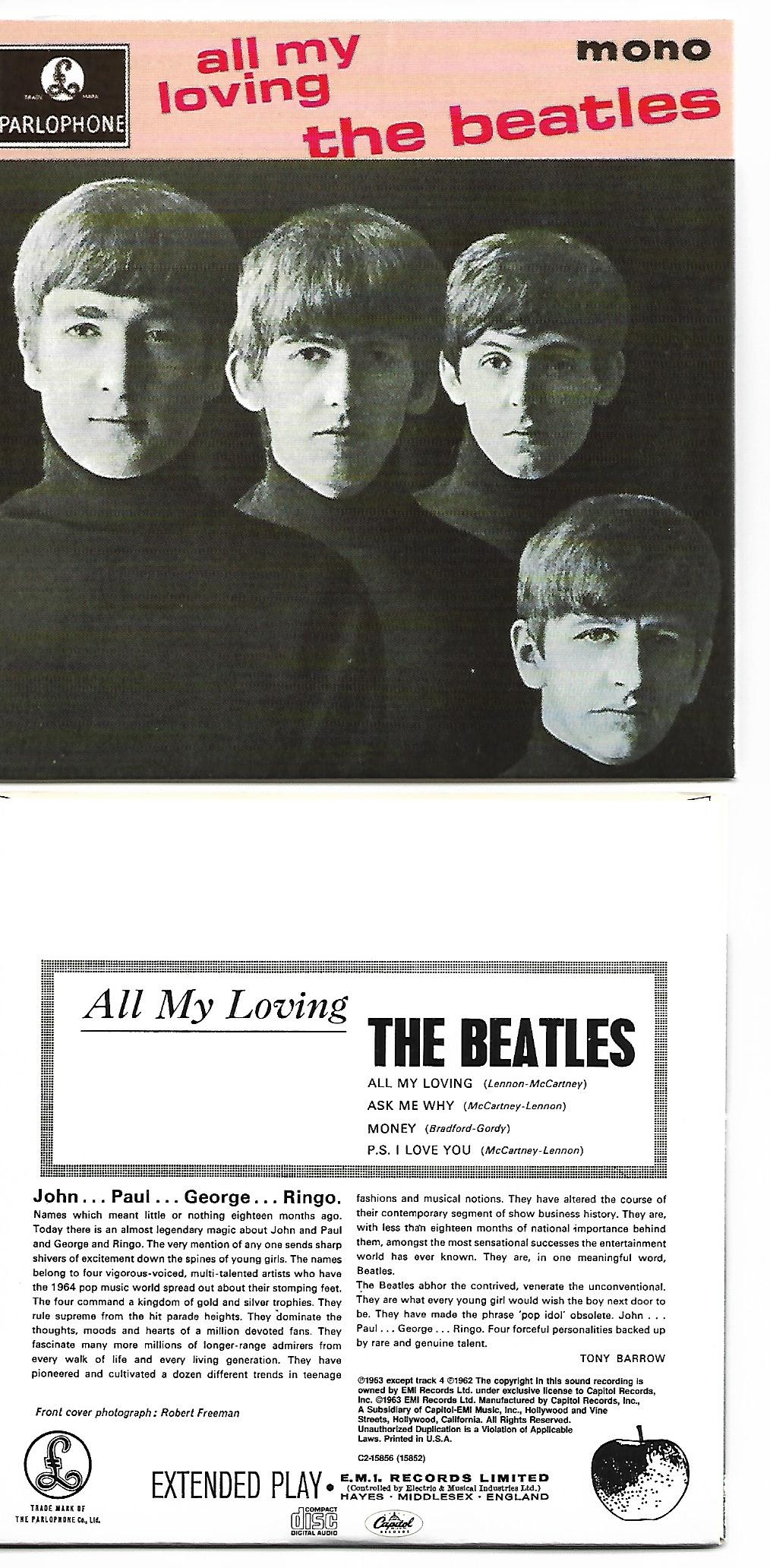 BEATLES - All My Loving Ep 4-track Card Sleeve