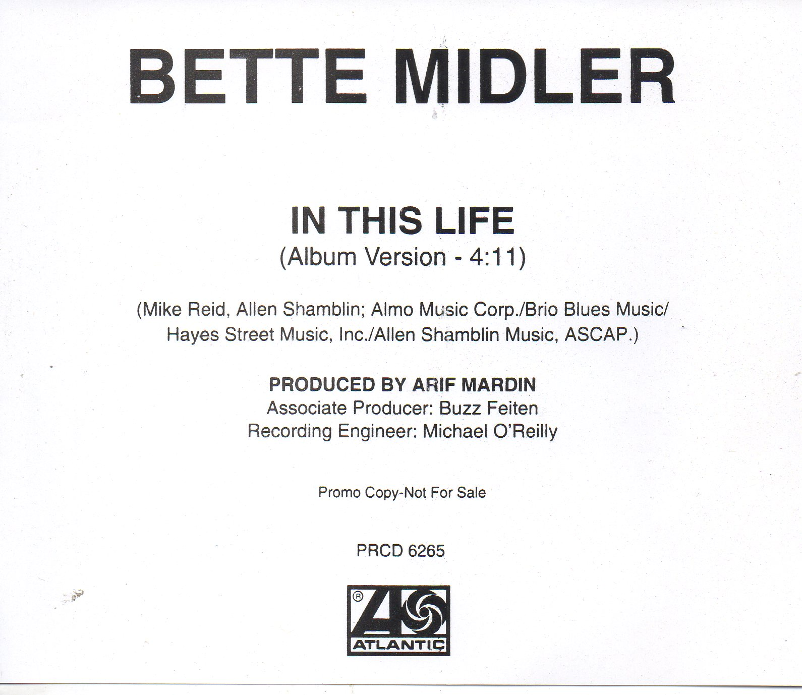 BETTE MIDLER - THE BEATLES - SOUNDTRACK FOR THE BO - In my life Promo USA 1-track jewel case - CD Maxi