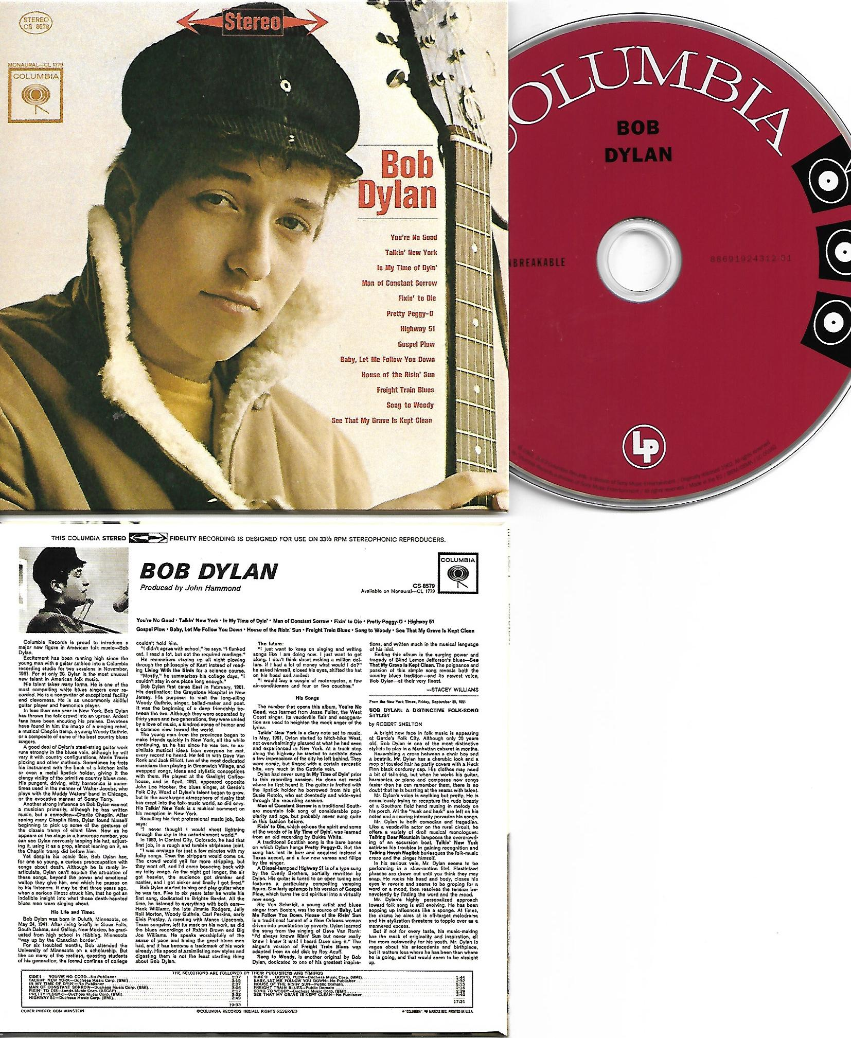 BOB DYLAN - Bob Dylan - First Album 1962 - MINI LP REPLICA CARD BOARD SLEEVE - CD