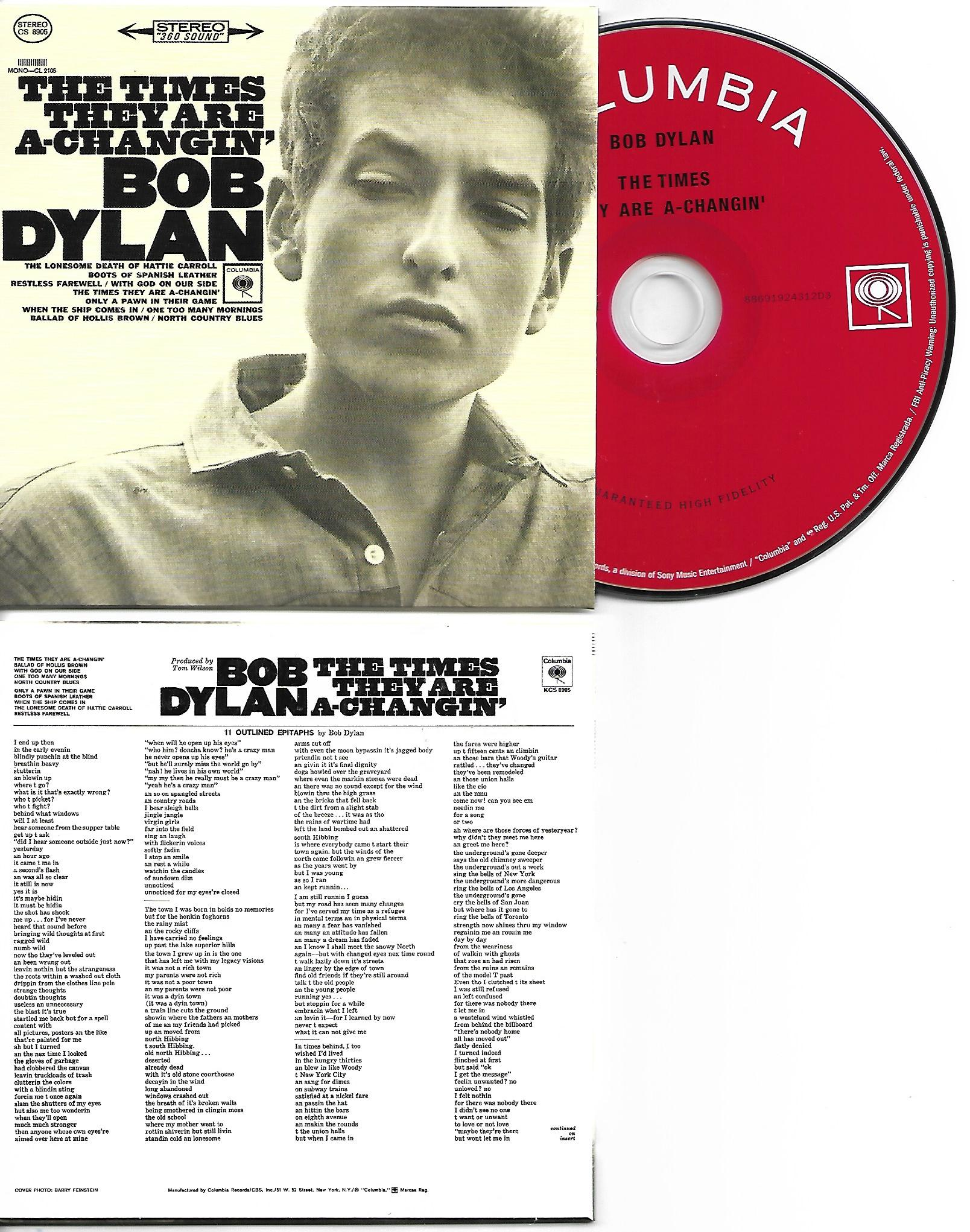 BOB DYLAN - The Times They Are a-Changin' 1964 - MINI LP REPLICA CARD BOARD SLEEVE - CD
