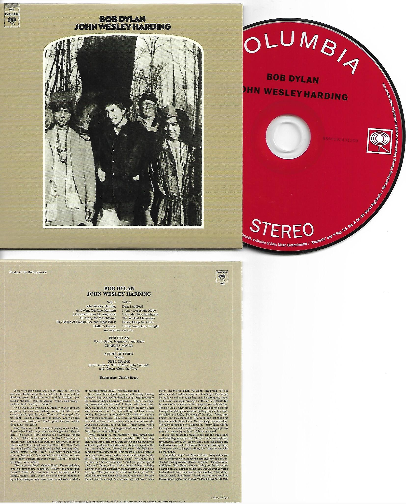 BOB DYLAN - John Wesley Harding 1967 - MINI LP REPLICA CARD BOARD SLEEVE - CD