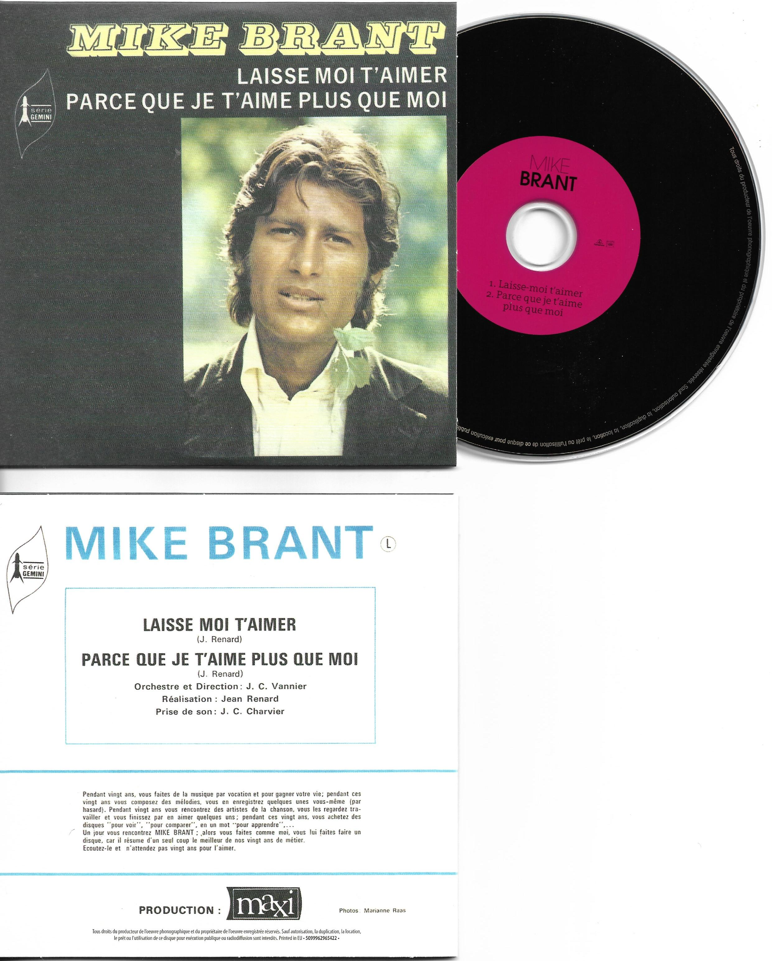 MIKE BRANT - Laisse moi t'aimer 2-TRACK CARD SLEEVE - CD single