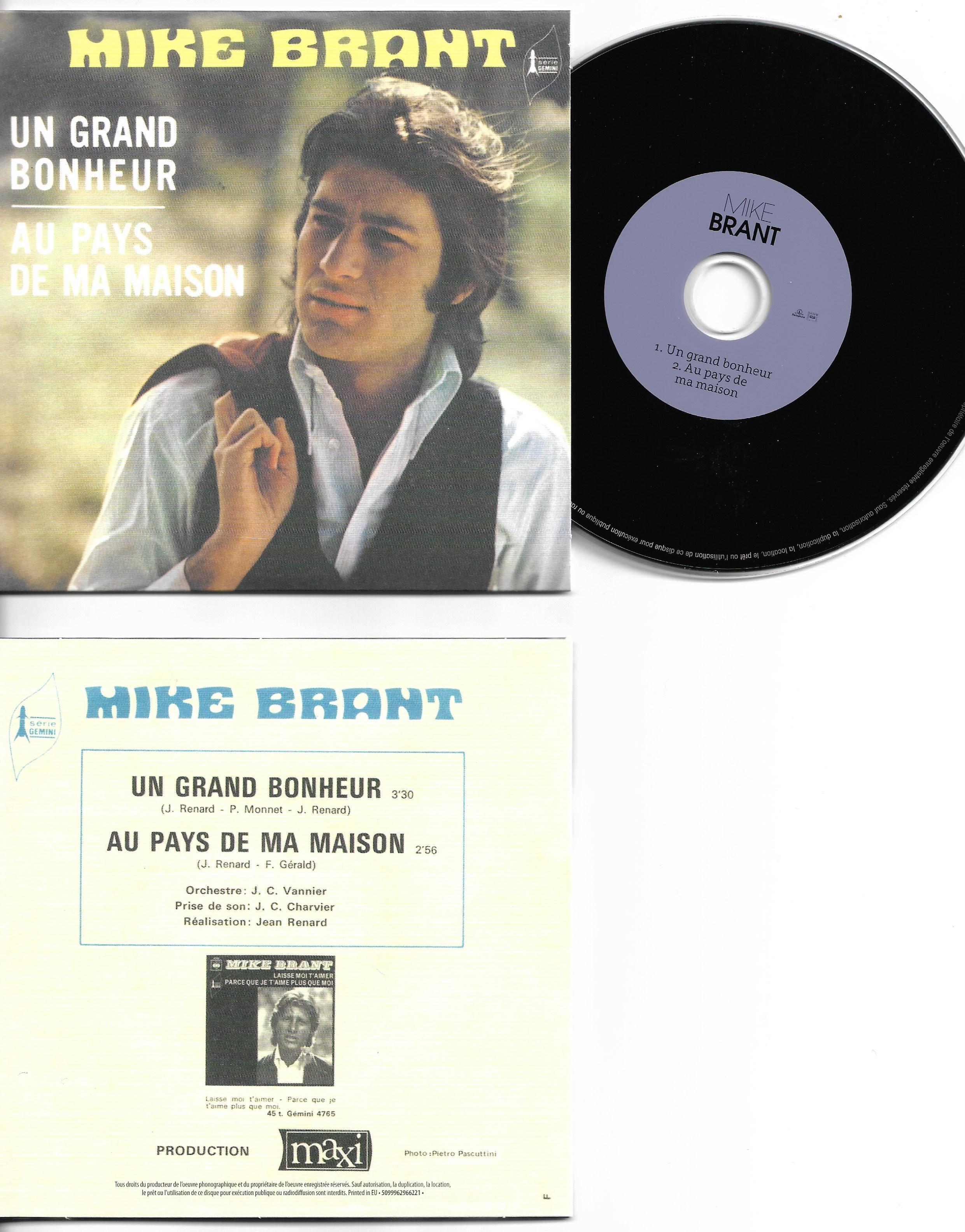 MIKE BRANT - Un grand bonheur 2-TRACK CARD SLEEVE - CD single
