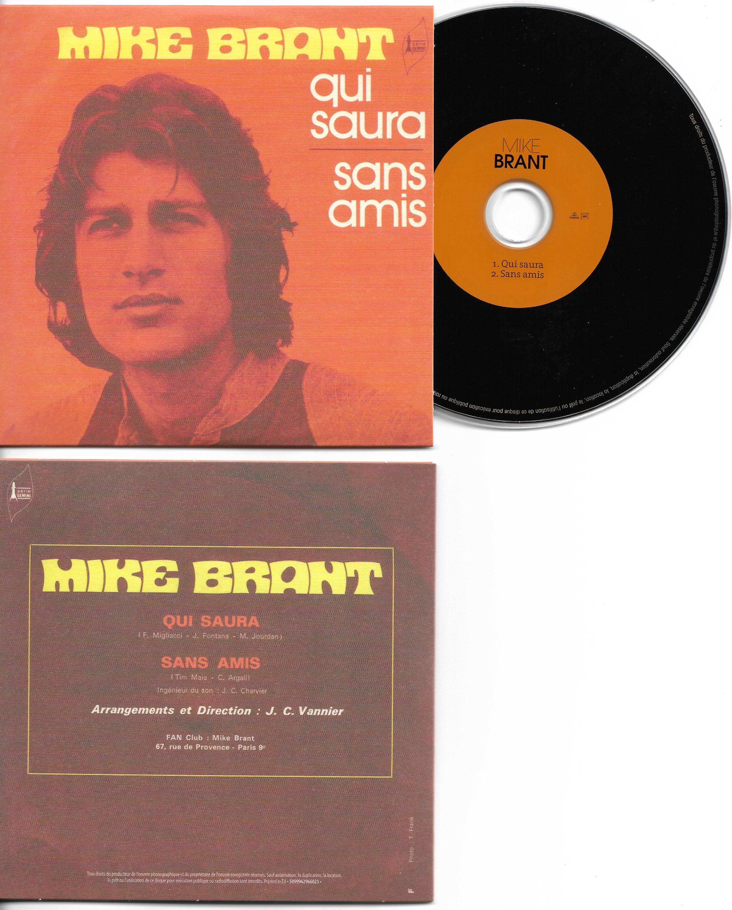MIKE BRANT - Qui saura 2-TRACK CARD SLEEVE - CD single