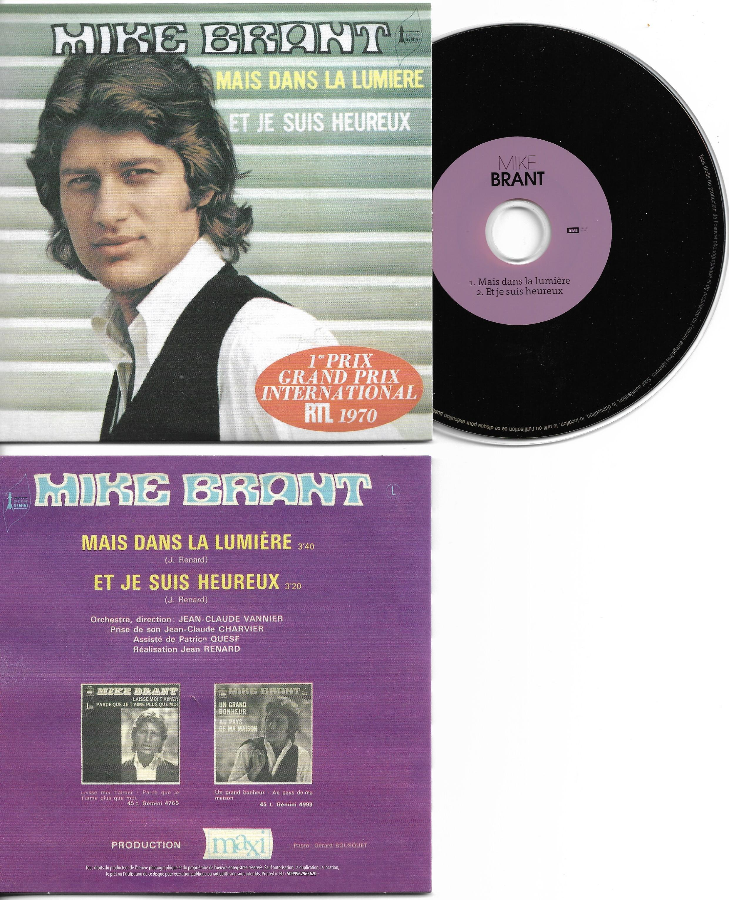 MIKE BRANT - Mais dans la lumière 2-TRACK CARD SLEEVE - CD single