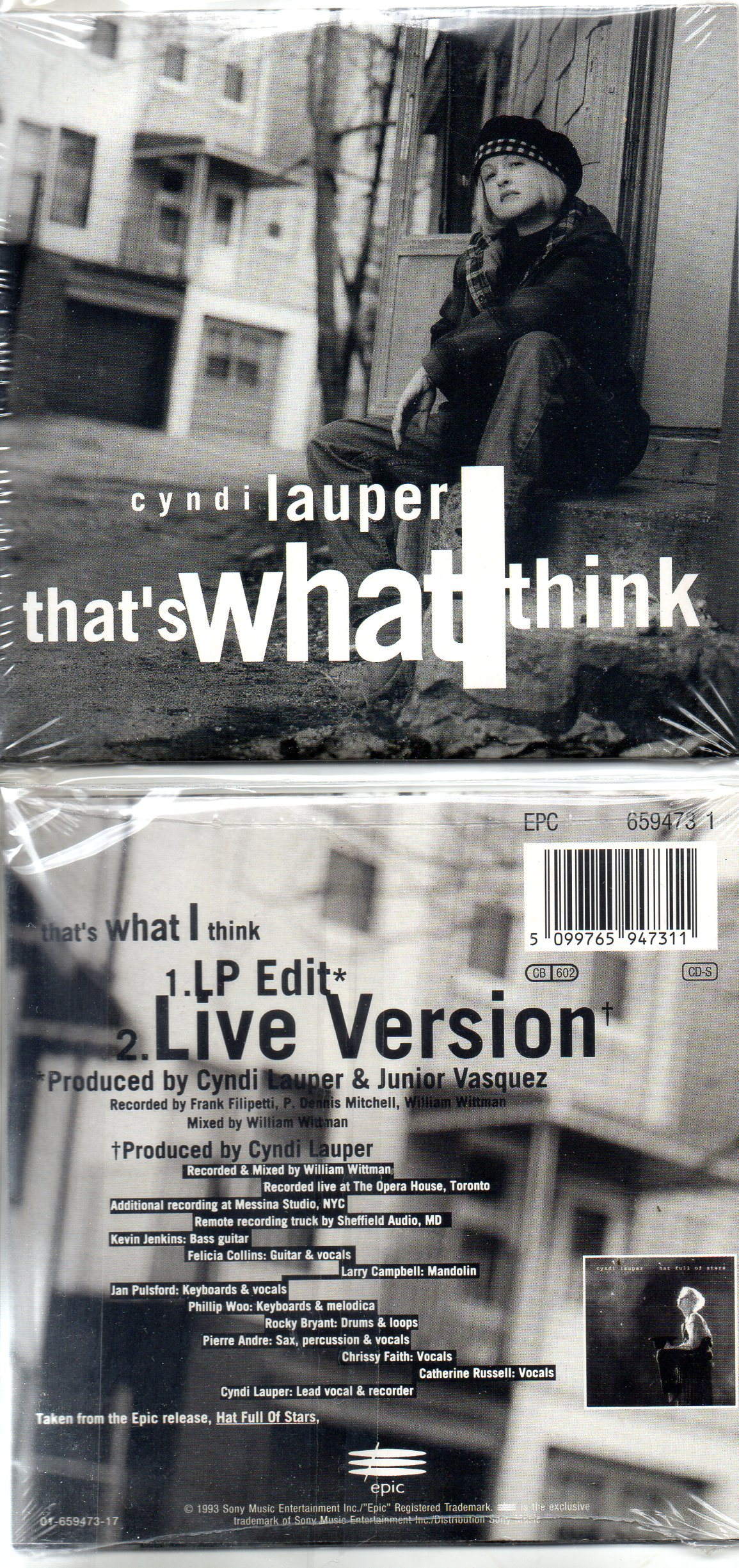 Cyndi LAUPER - That's What I Think 2-track Card Sleeve