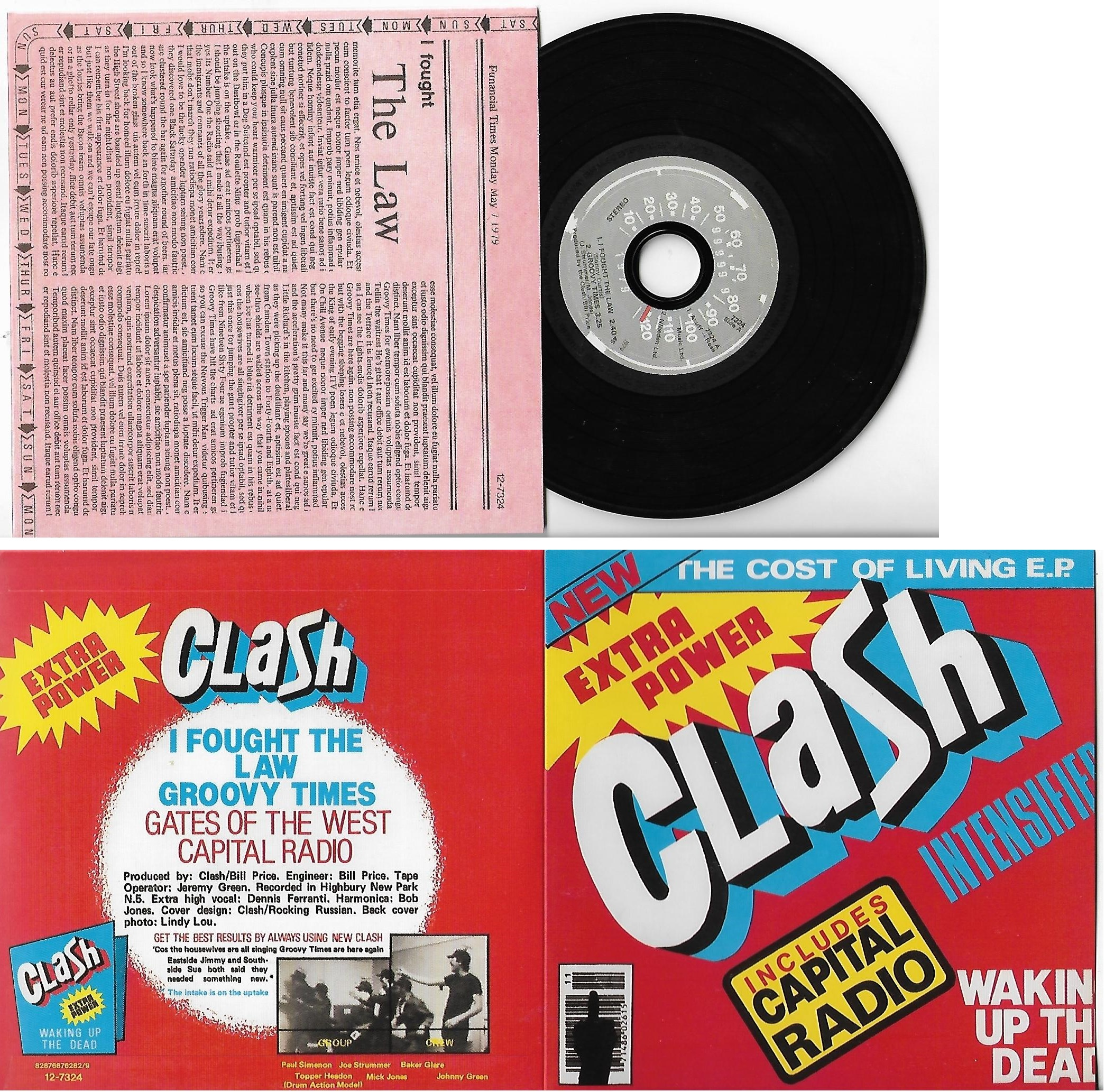 CLASH - Cost Of Living Ep- I Fought The Law 4-track Card Sleeve