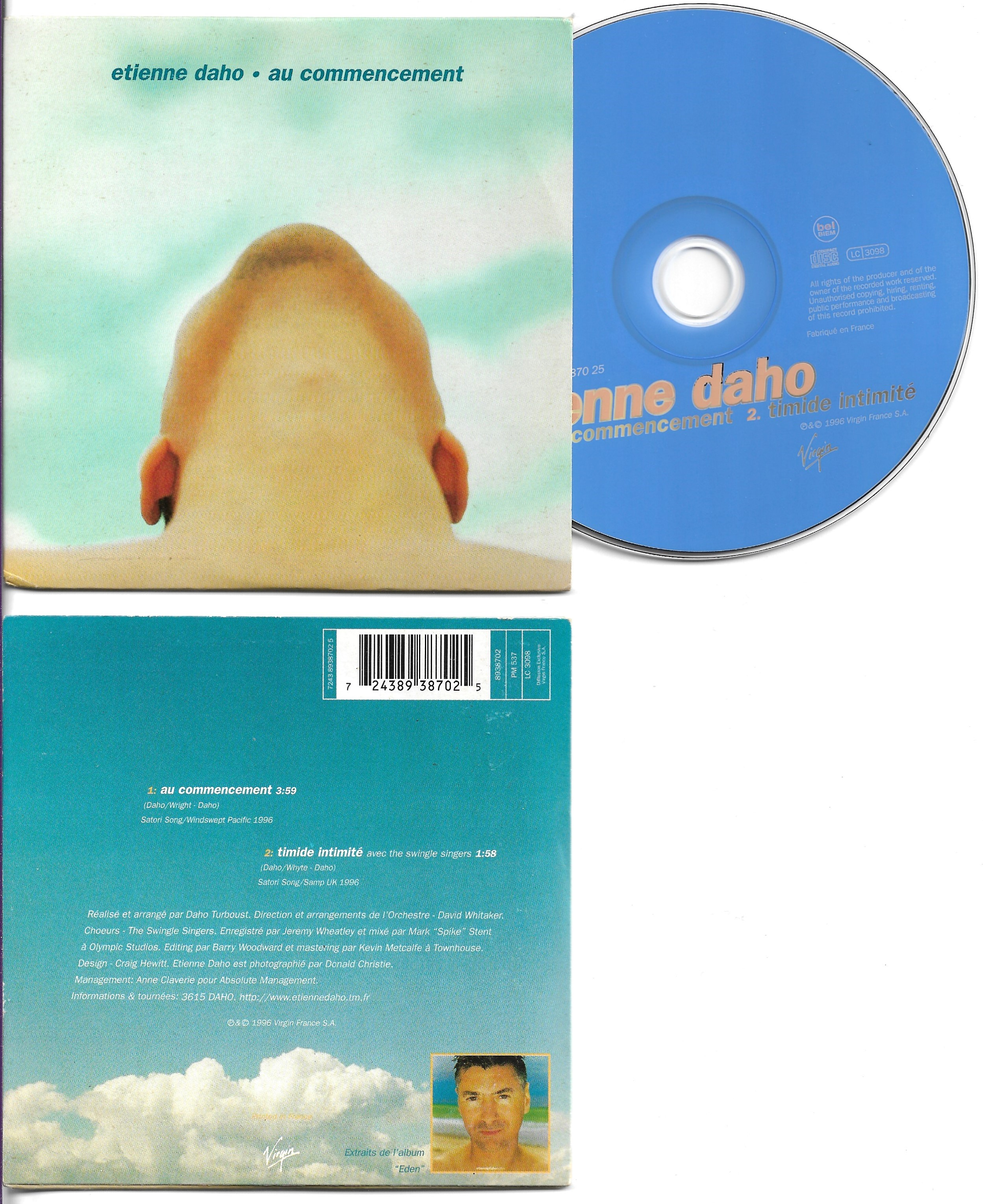 ETIENNE DAHO - Au commencement 2-Track CARD SLEEVE - CD single