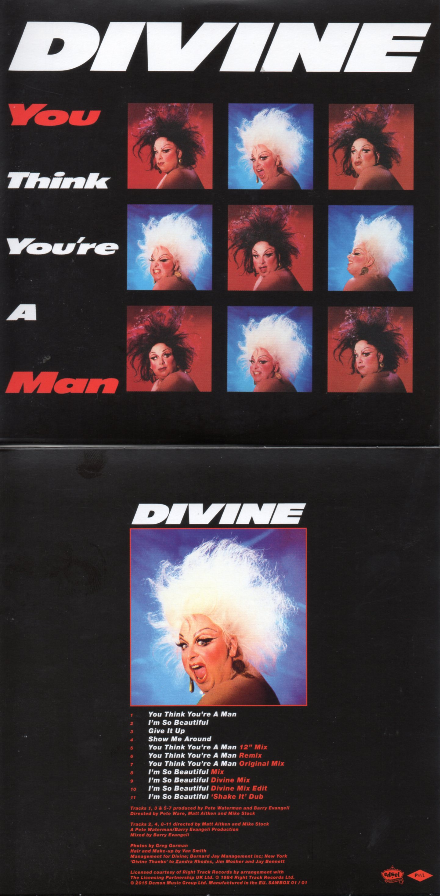 DIVINE - STOCK AITKEN WATERMAN - PWL - You Think You're A Man - I'm So Beautiful 11-track CARD SLEEVE REMIXES - CD single