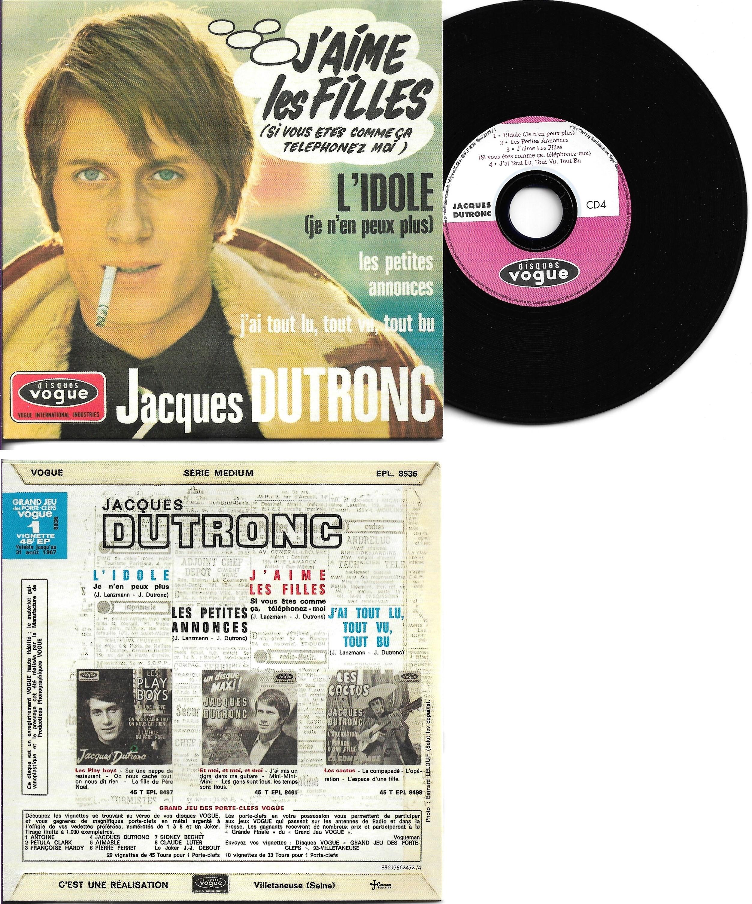 JACQUES DUTRONC - J'aime les filles EP REPLICA  4-TRACK CARD SLEEVE - CD single