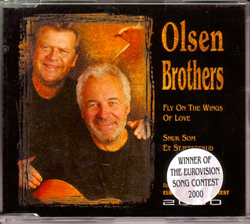 EUROVISION 2000 DANEMARK : OLSEN BROTHERS - Fly on the wings of love 2-track Jewel case Sticker - CD Maxi