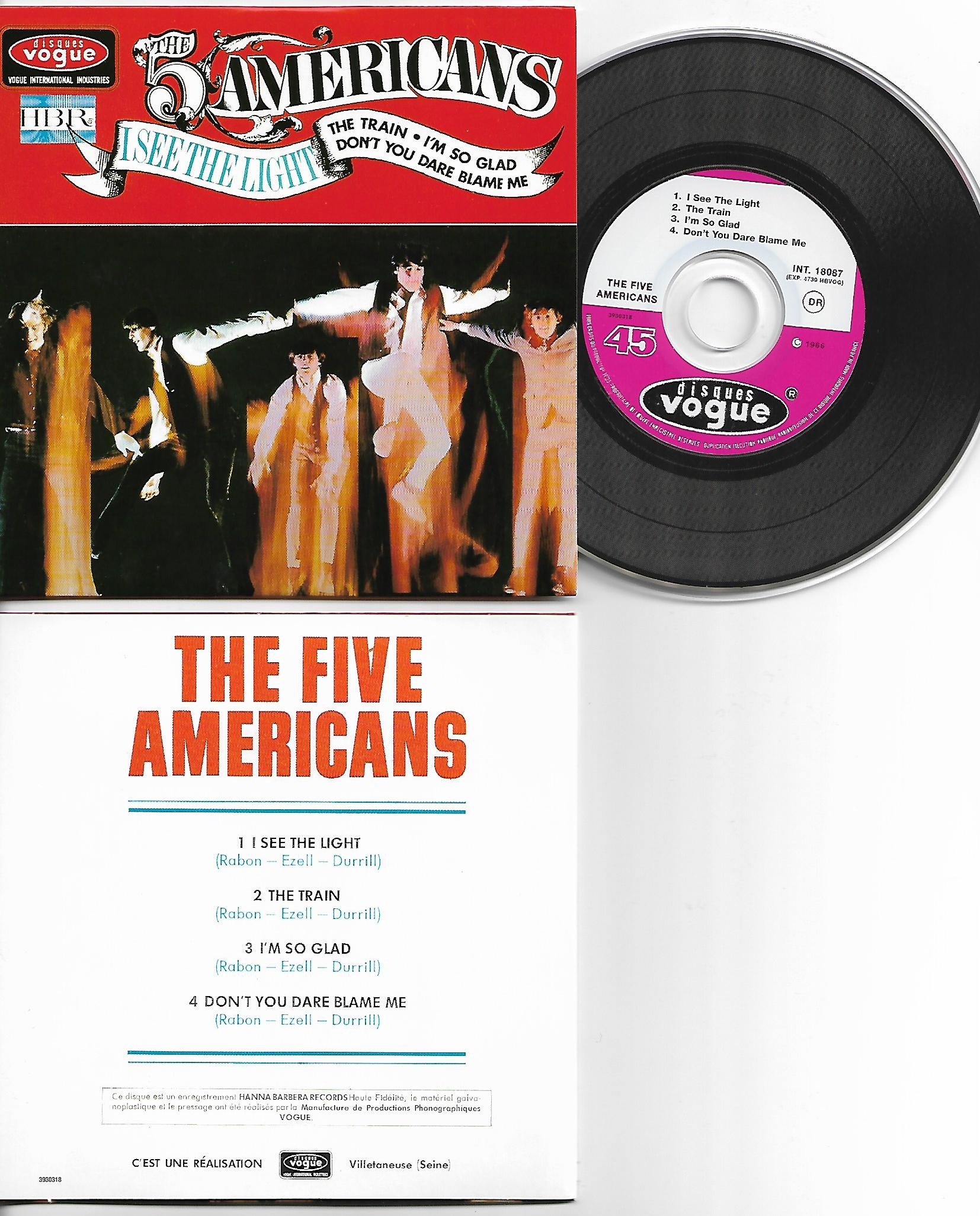 THE FIVE AMERICANS - I see the light - EP - 4-track CARD SLEEVE - French sleeve - Very Limited Edition - CD single