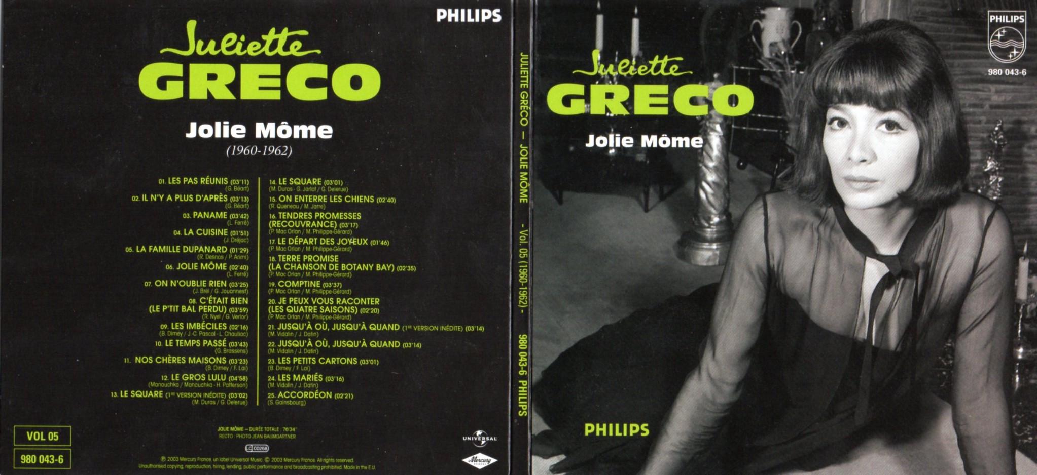 JULIETTE GRÉCO - Jolie môme (1960 - 1962) Gatefold Card board sleeve - CD