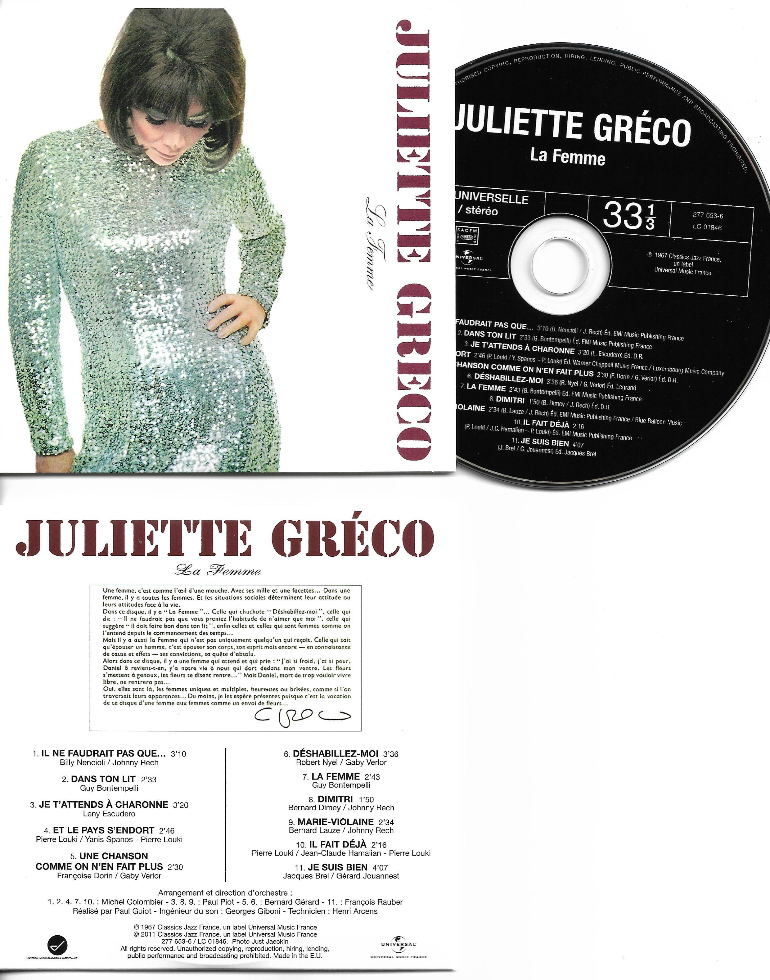 JULIETTE GRÉCO - La Femme - Mini LP - 11-TRACK CARD SLEEVE - 11 Titres pochette Cartonnée - CD