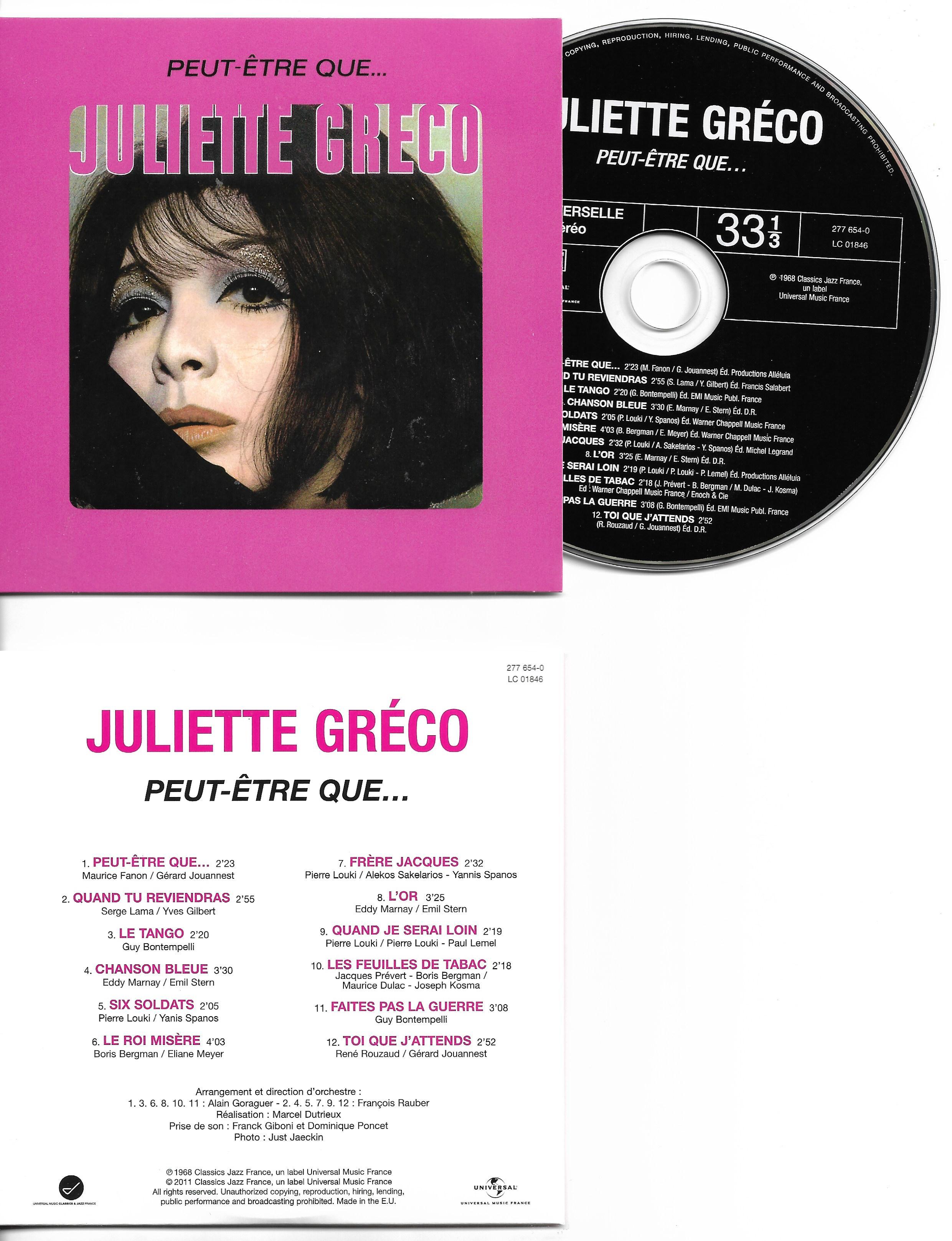 JULIETTE GRÉCO - Peut-être que... - Mini LP - 12-TRACK CARD SLEEVE - 12 Titres pochette Cartonnée - CD