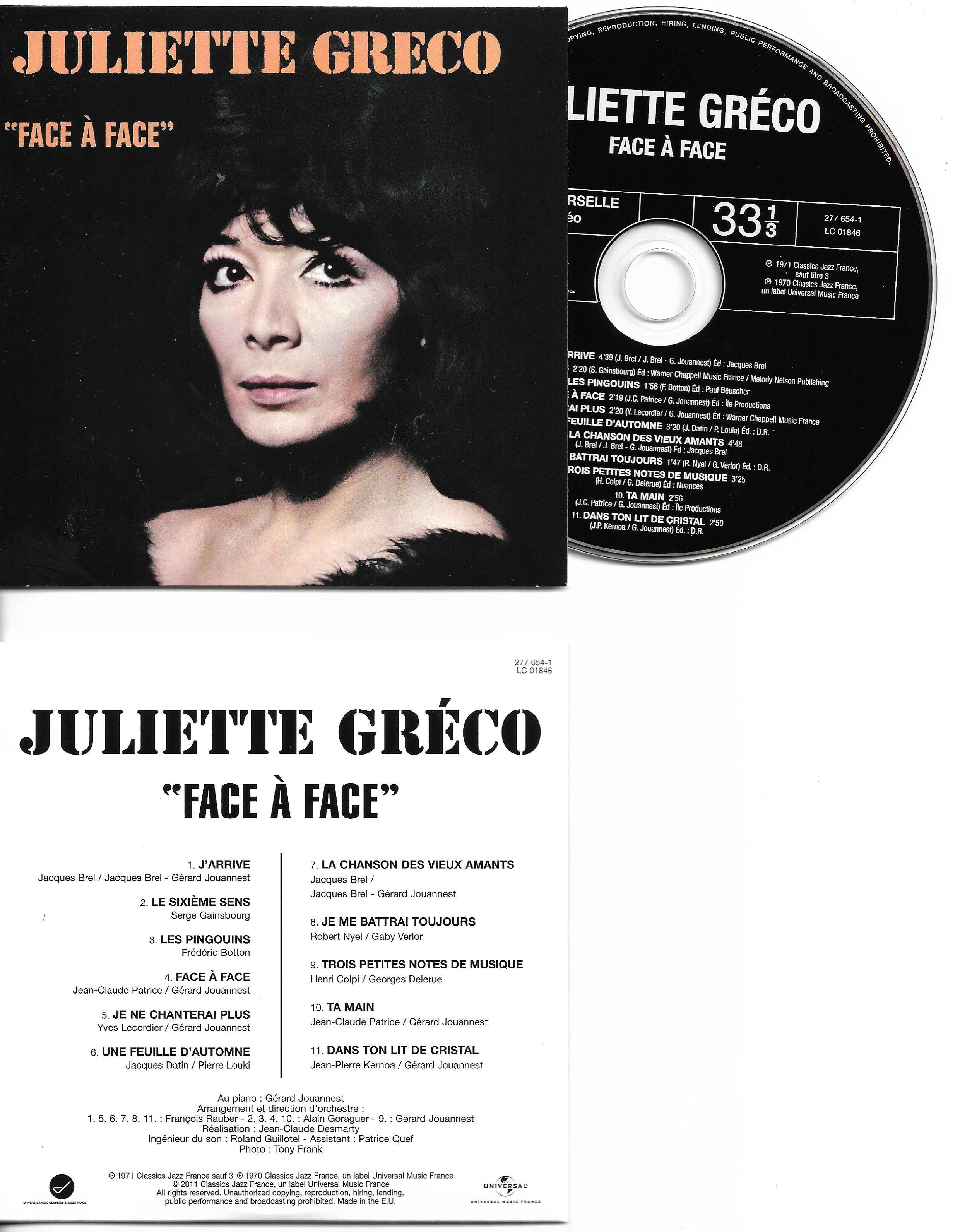 JULIETTE GRÉCO - Face à Face - Mini LP - 11-TRACK CARD SLEEVE - 11 Titres pochette Cartonnée - CD