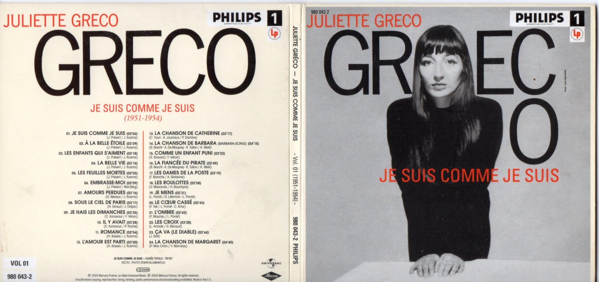 JULIETTE GRÉCO - Je suis comme je suis (1951-1954) Gatefold Card board sleeve - CD