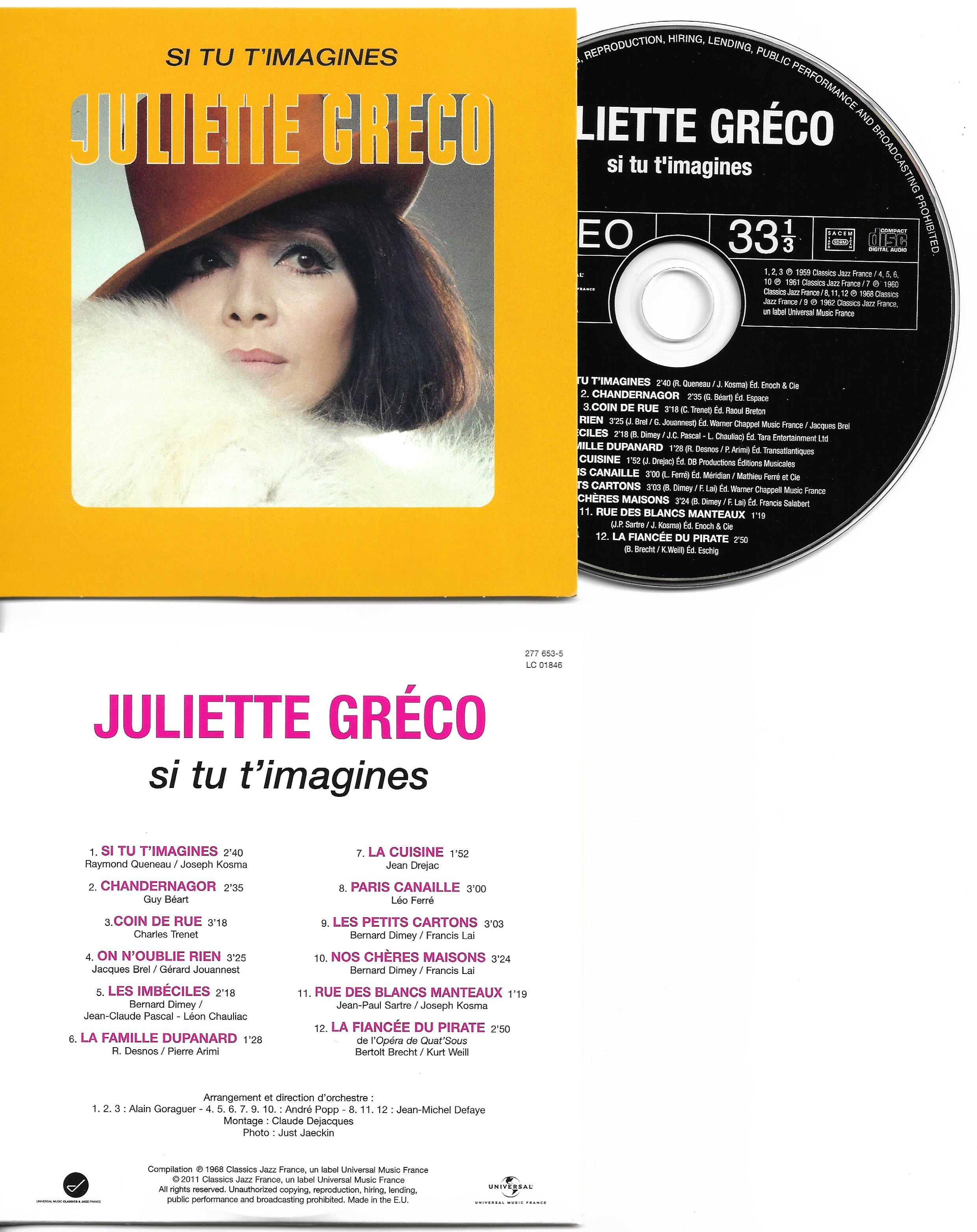 JULIETTE GRÉCO - Si tu t'imagines - Mini LP - 12-TRACK CARD SLEEVE - 12 Titres pochette Cartonnée - CD